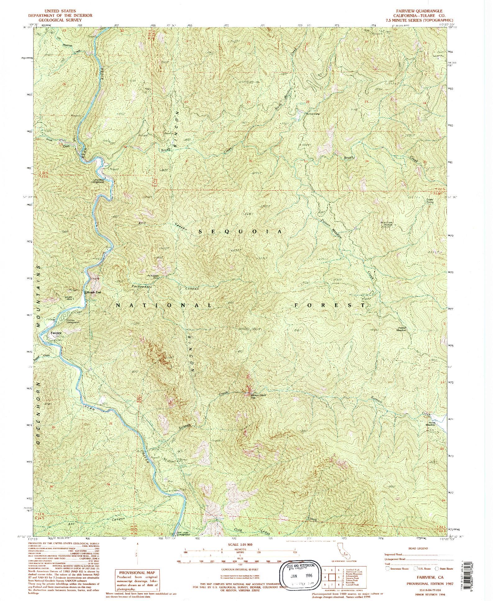 USGS 1:24000-SCALE QUADRANGLE FOR FAIRVIEW, CA 1987