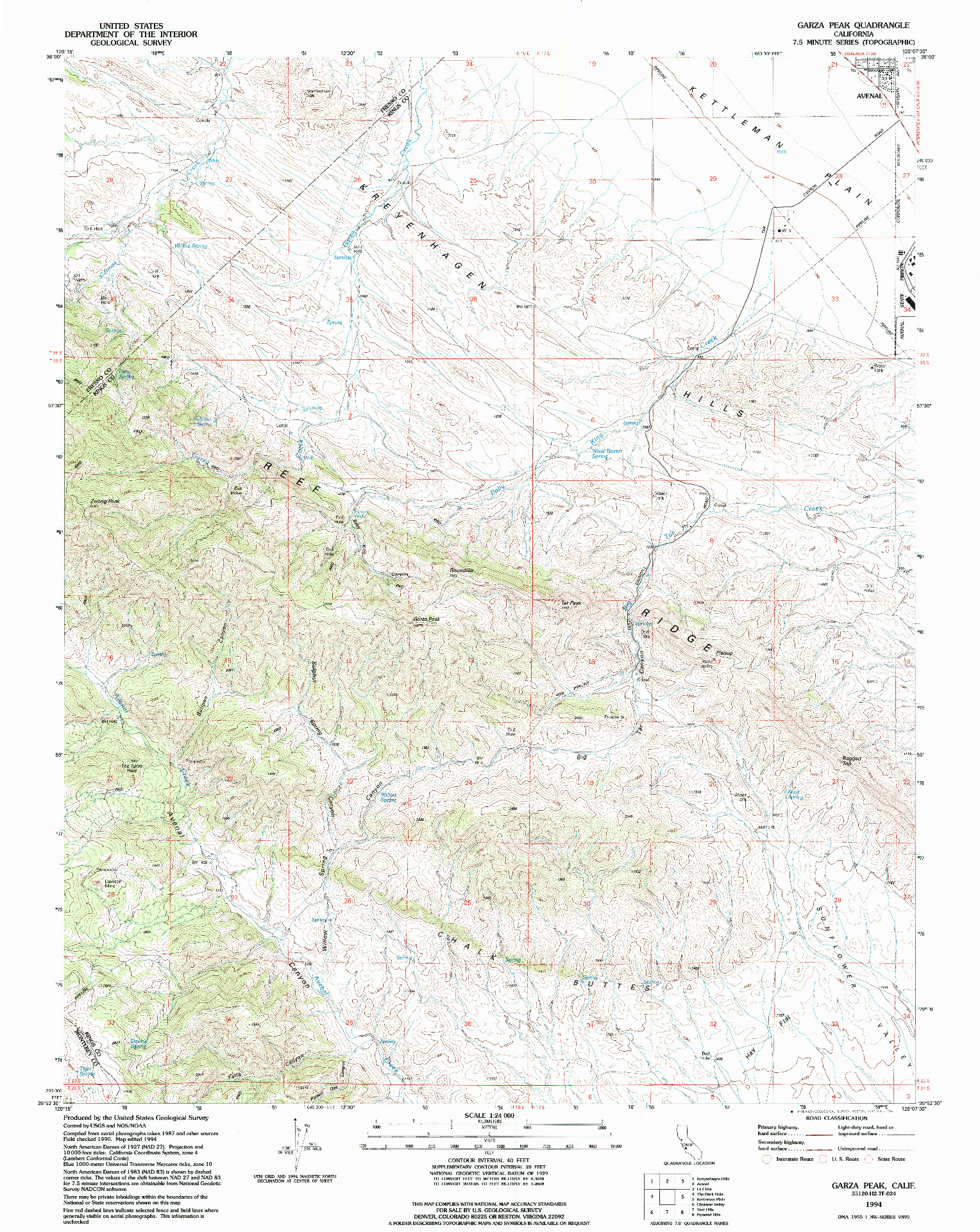 USGS 1:24000-SCALE QUADRANGLE FOR GARZA PEAK, CA 1994