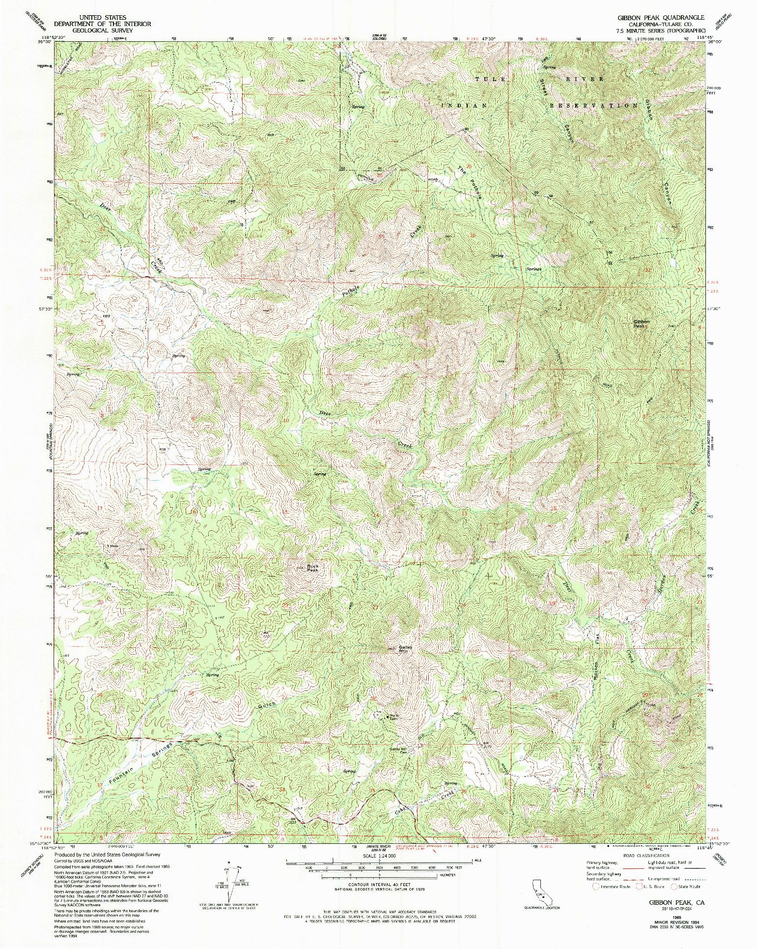 USGS 1:24000-SCALE QUADRANGLE FOR GIBBON PEAK, CA 1965