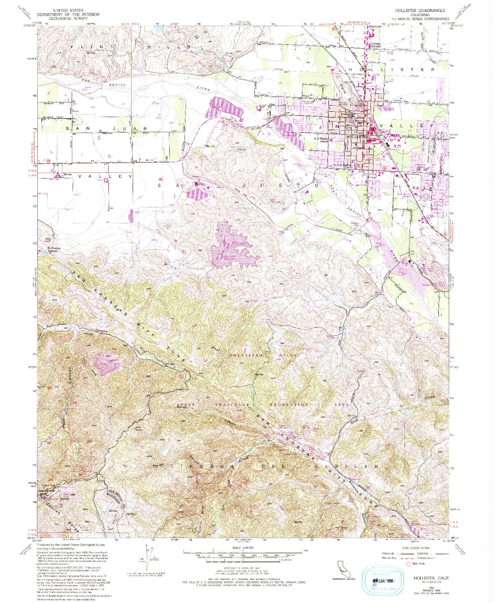 USGS 1:24000-SCALE QUADRANGLE FOR HOLLISTER, CA 1955