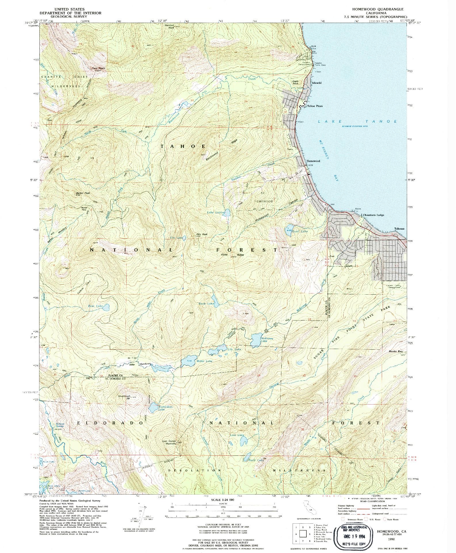 USGS 1:24000-SCALE QUADRANGLE FOR HOMEWOOD, CA 1992