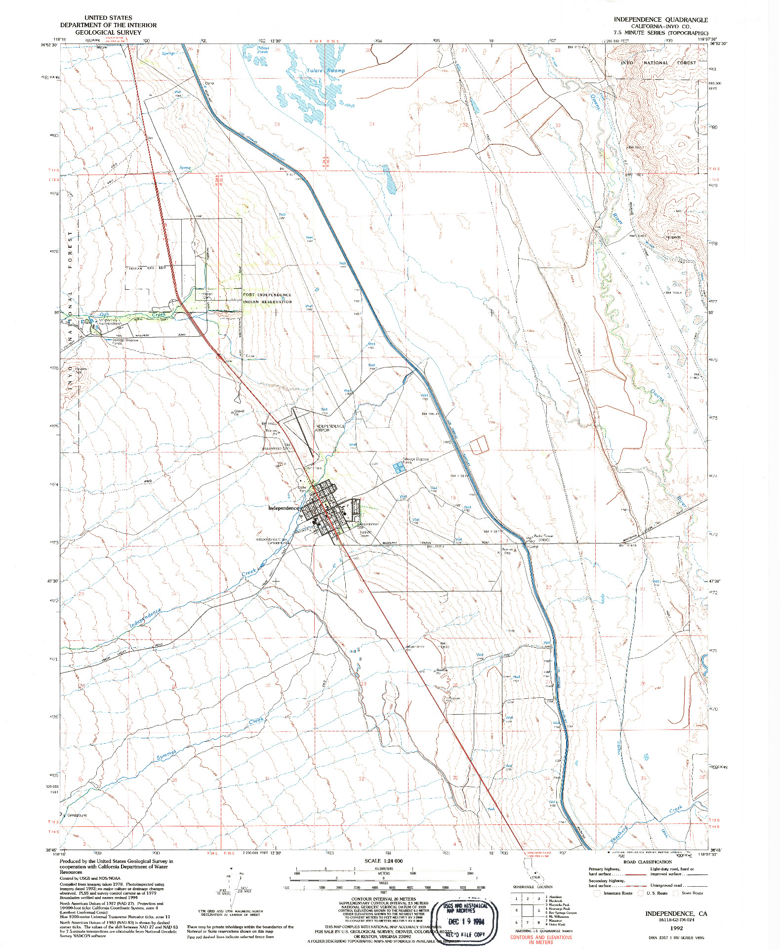 USGS 1:24000-SCALE QUADRANGLE FOR INDEPENDENCE, CA 1992