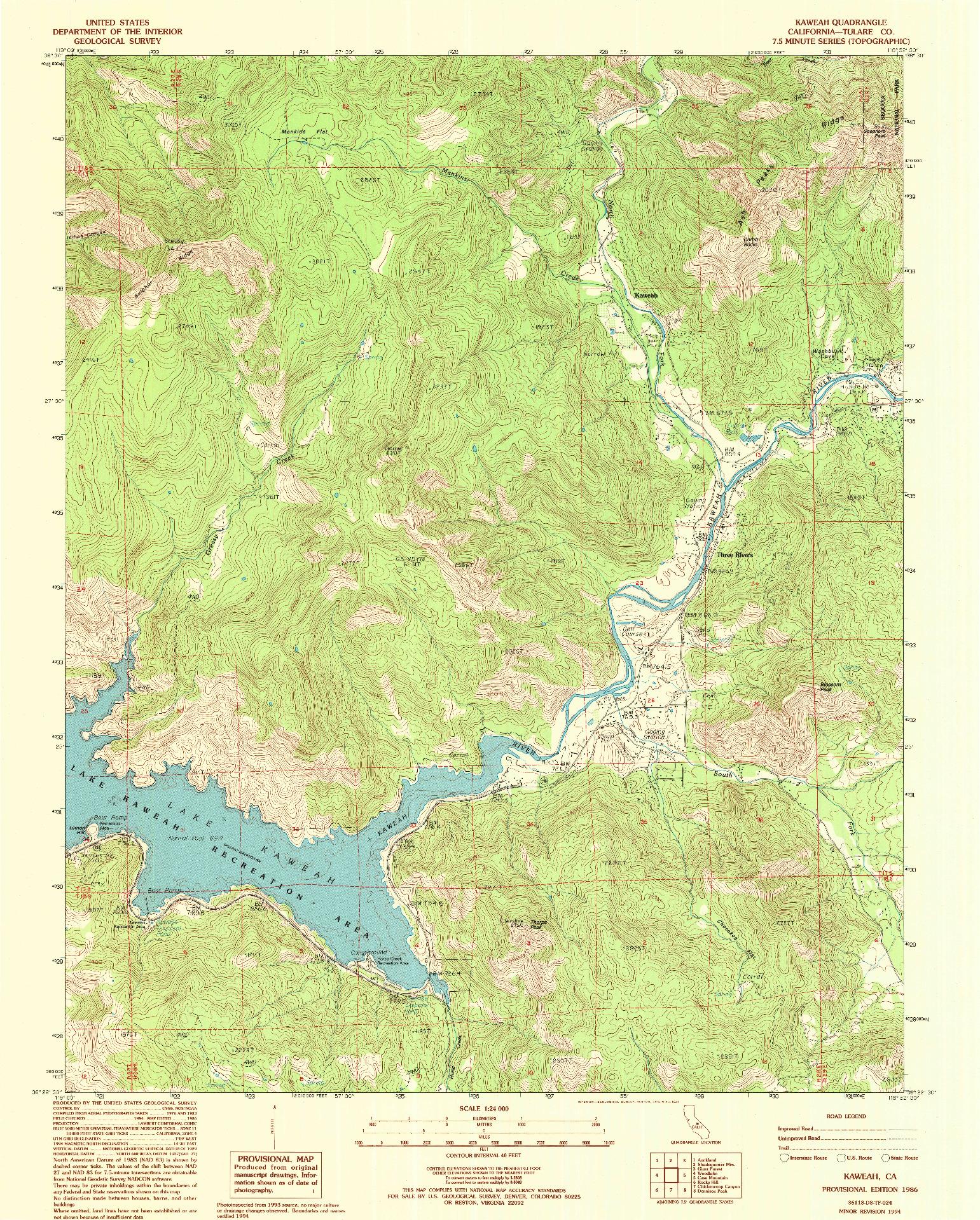 USGS 1:24000-SCALE QUADRANGLE FOR KAWEAH, CA 1986
