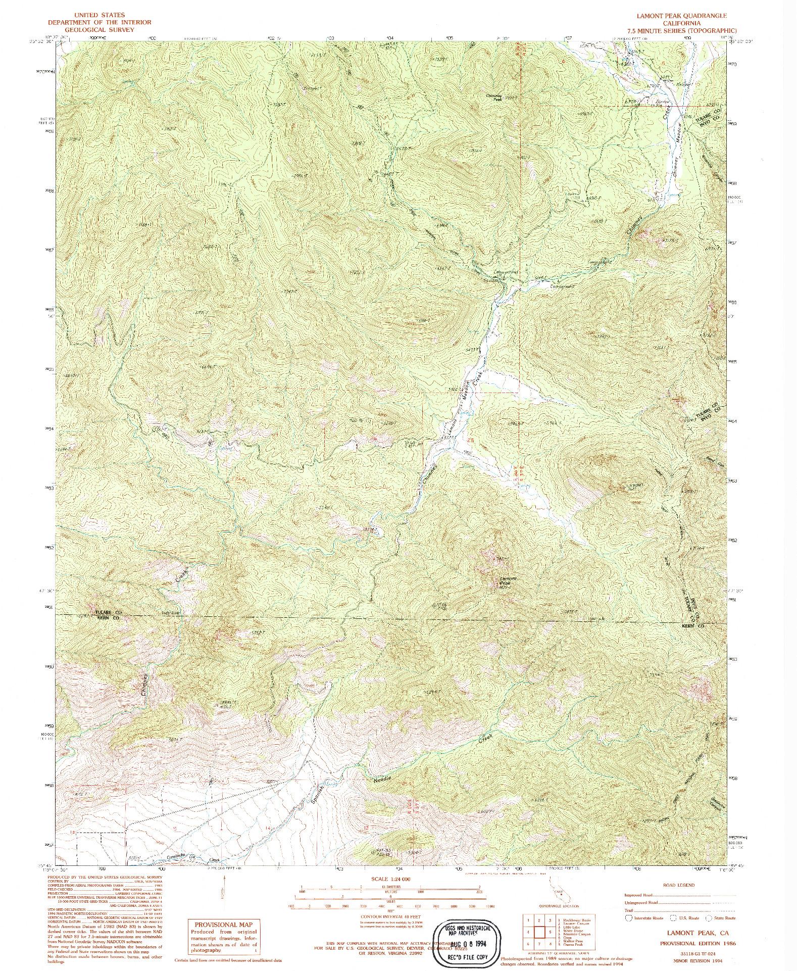 USGS 1:24000-SCALE QUADRANGLE FOR LAMONT PEAK, CA 1986