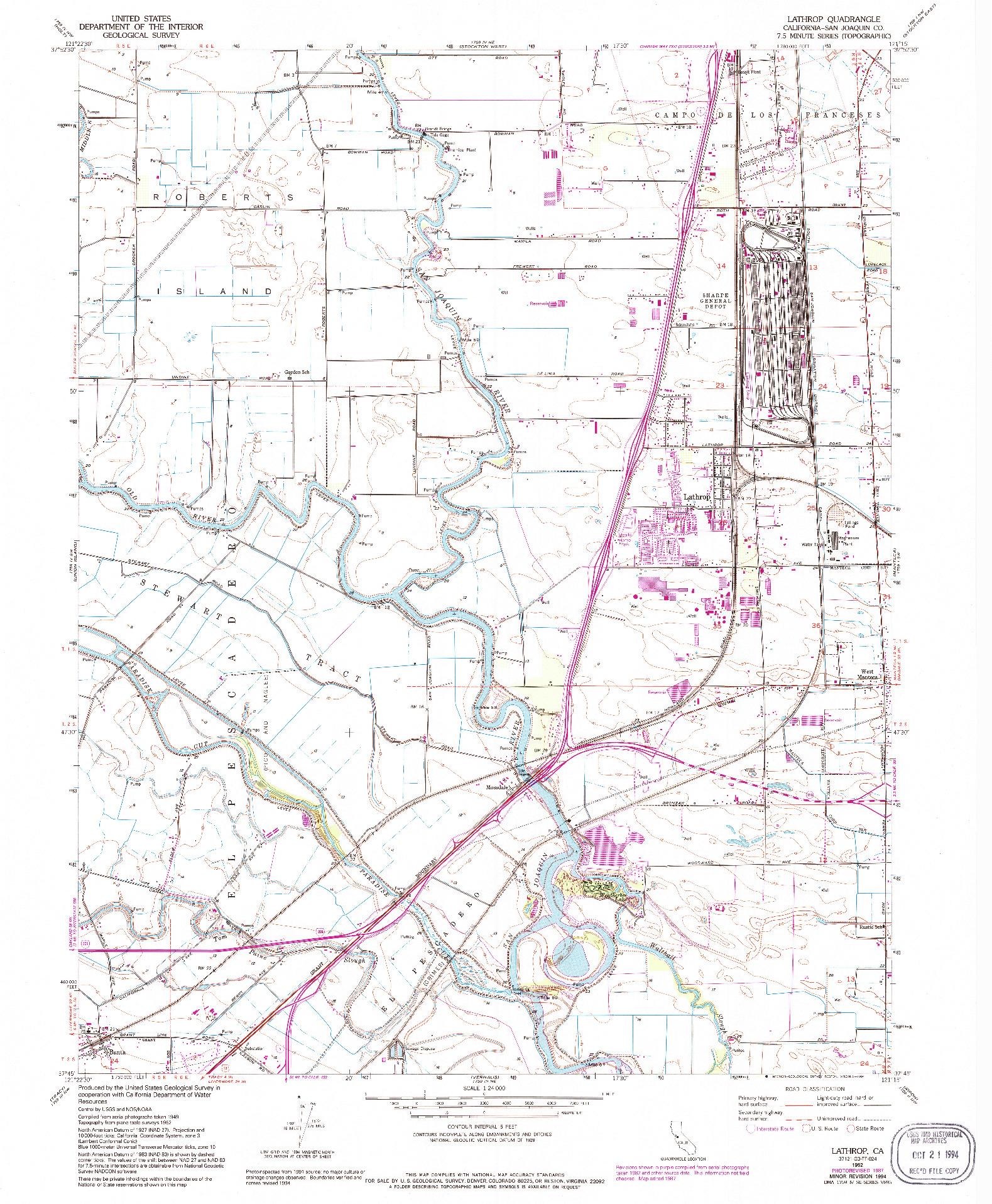 USGS 1:24000-SCALE QUADRANGLE FOR LATHROP, CA 1952