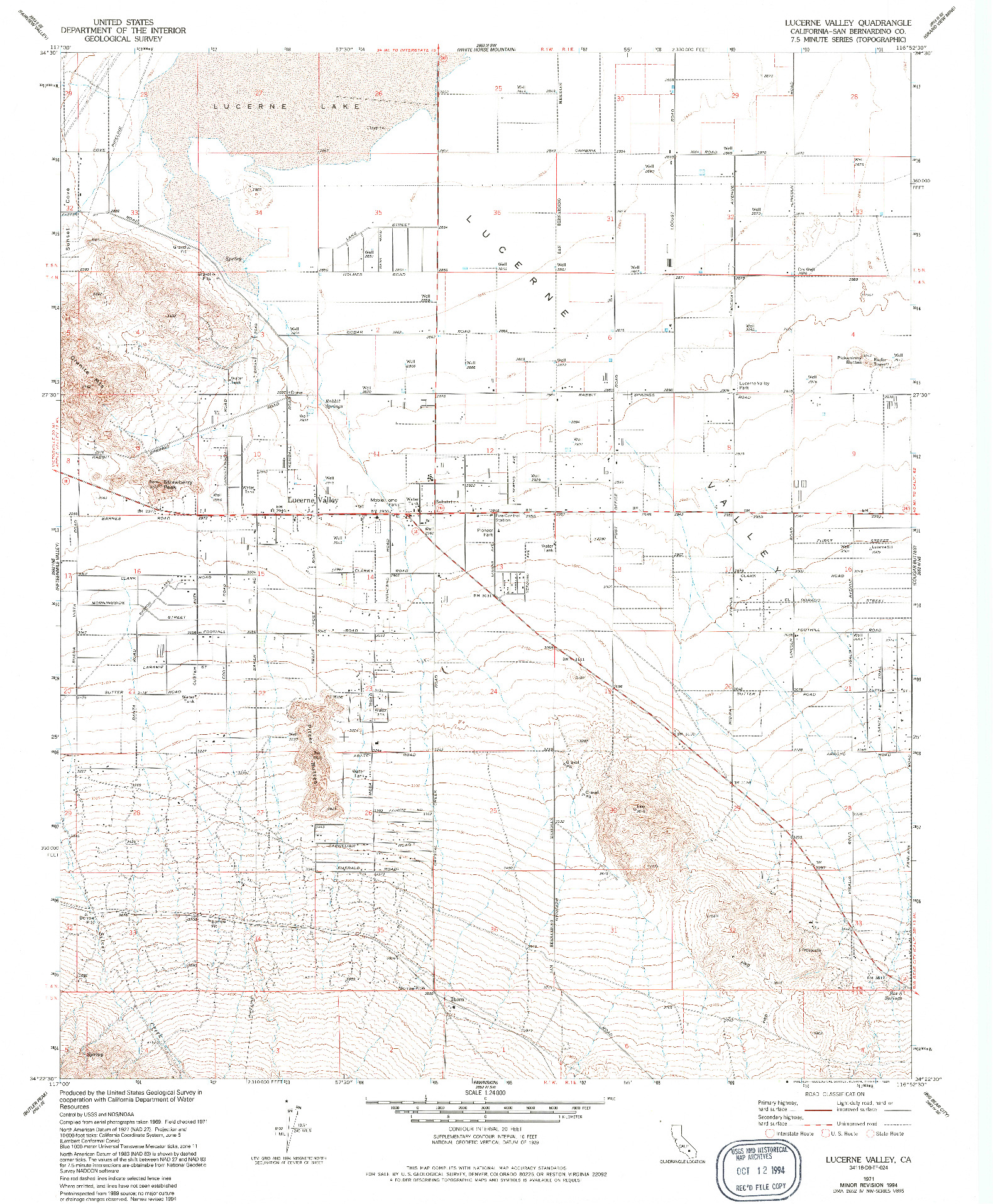 USGS 1:24000-SCALE QUADRANGLE FOR LUCERNE VALLEY, CA 1971