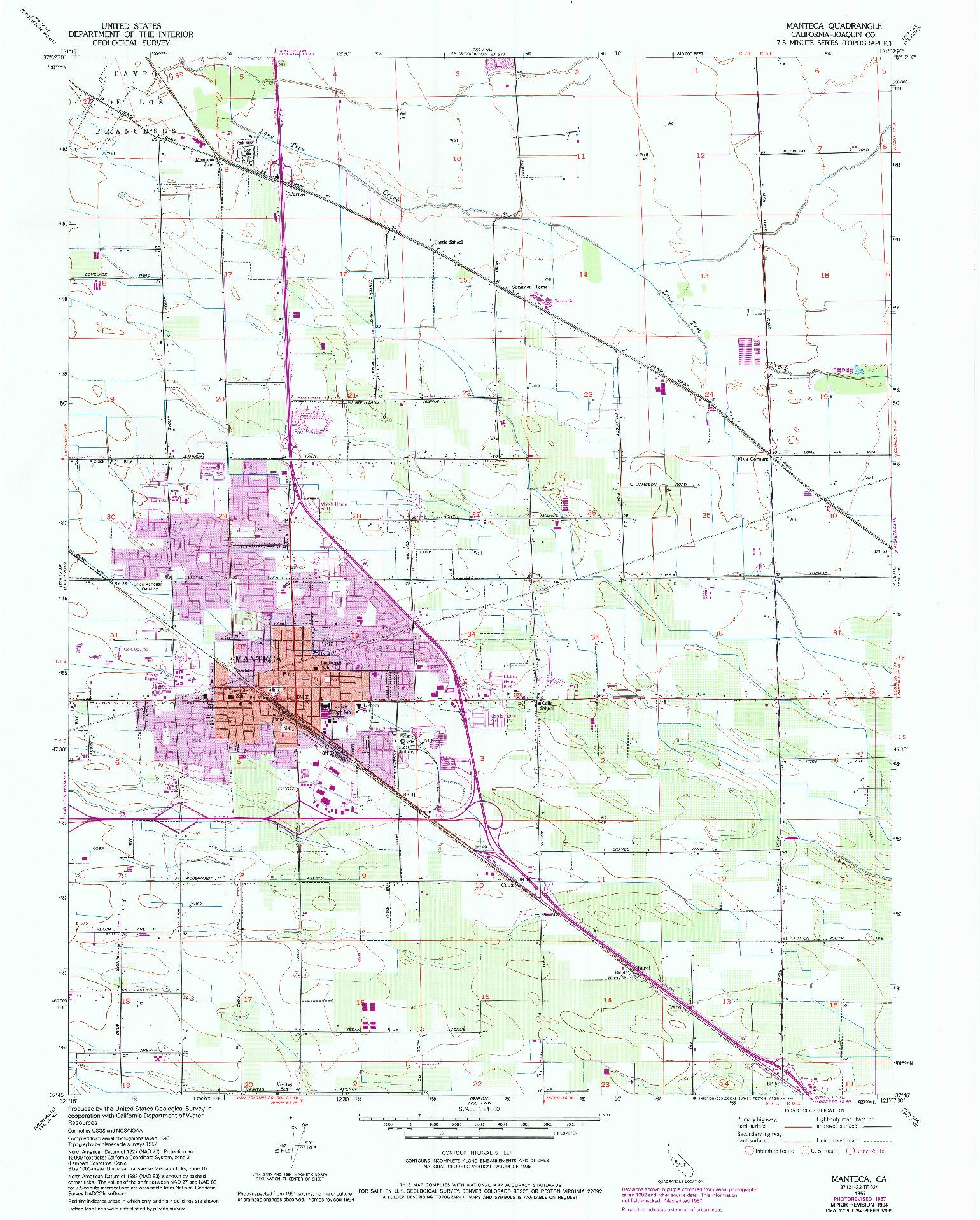 USGS 1:24000-SCALE QUADRANGLE FOR MANTECA, CA 1952