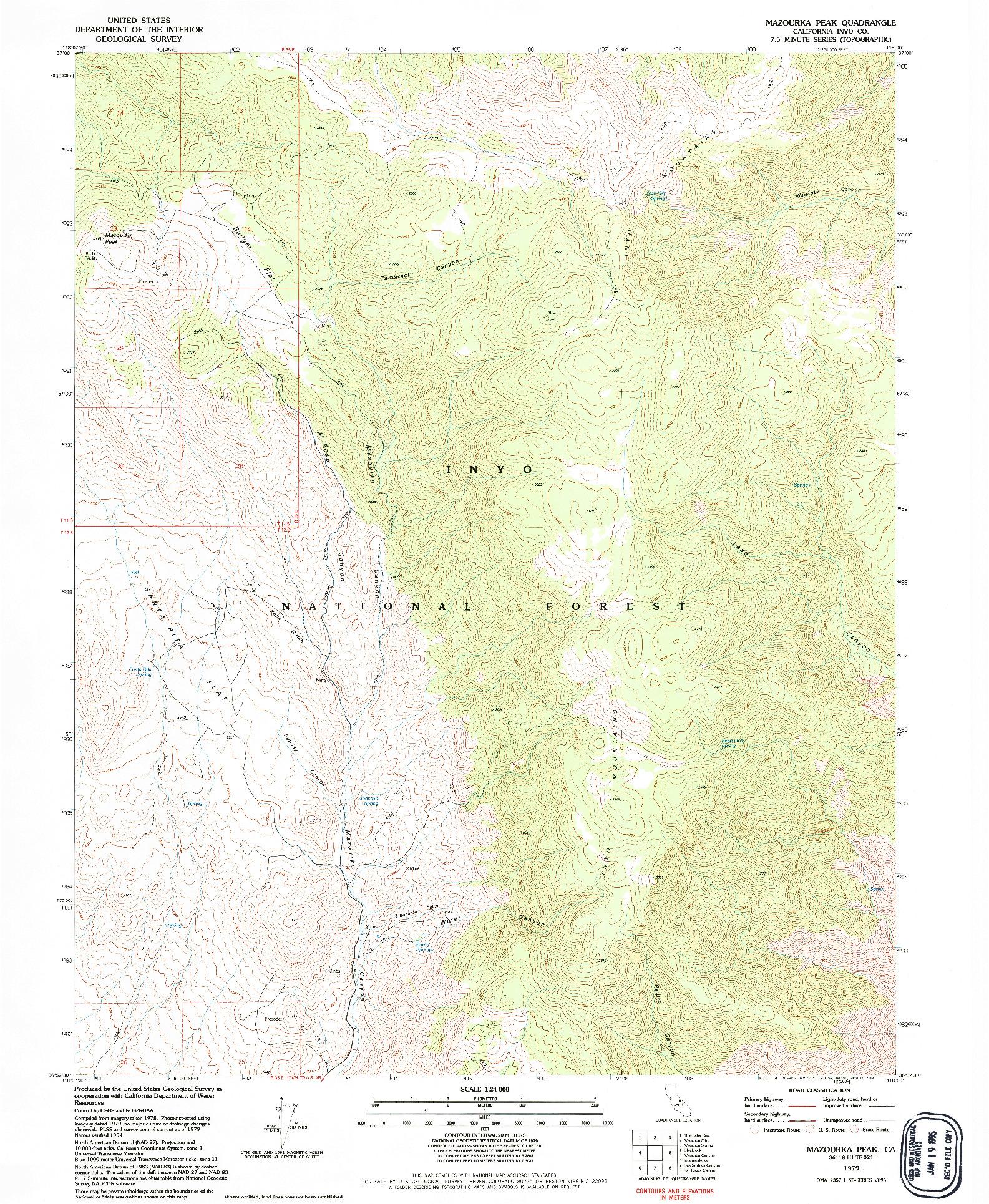 USGS 1:24000-SCALE QUADRANGLE FOR MAZOURKA PEAK, CA 1979