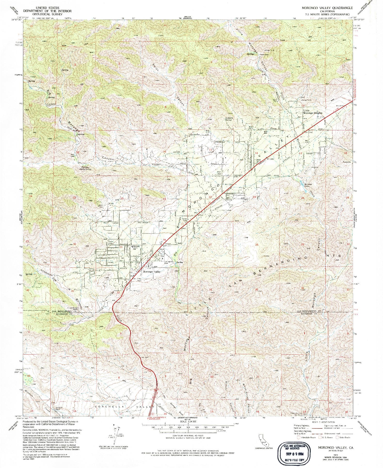 USGS 1:24000-SCALE QUADRANGLE FOR MORONGO VALLEY, CA 1972