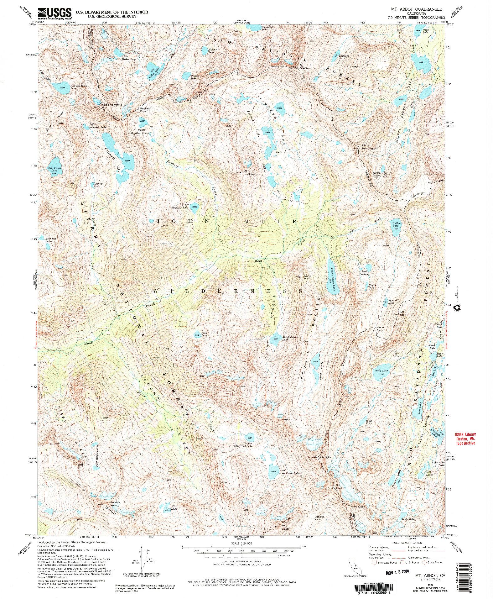 USGS 1:24000-SCALE QUADRANGLE FOR MT. ABBOT, CA 1982