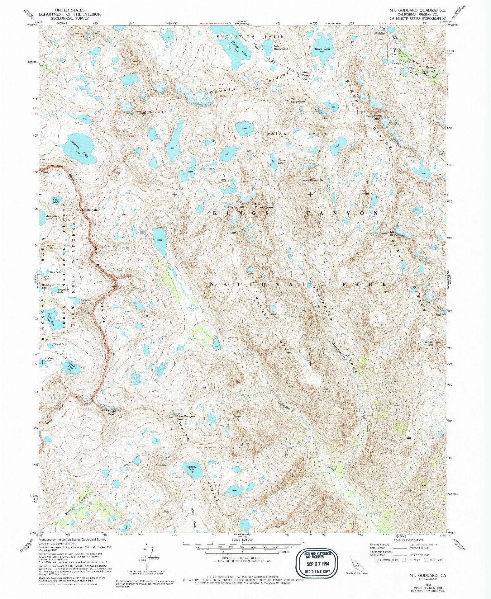 USGS 1:24000-SCALE QUADRANGLE FOR MT. GODDARD, CA 1983