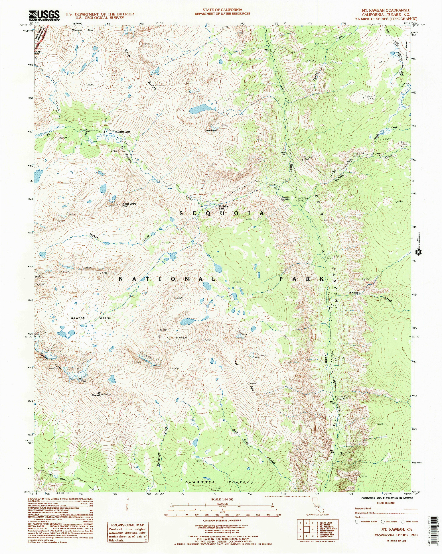 USGS 1:24000-SCALE QUADRANGLE FOR MT. KAWEAH, CA 1993