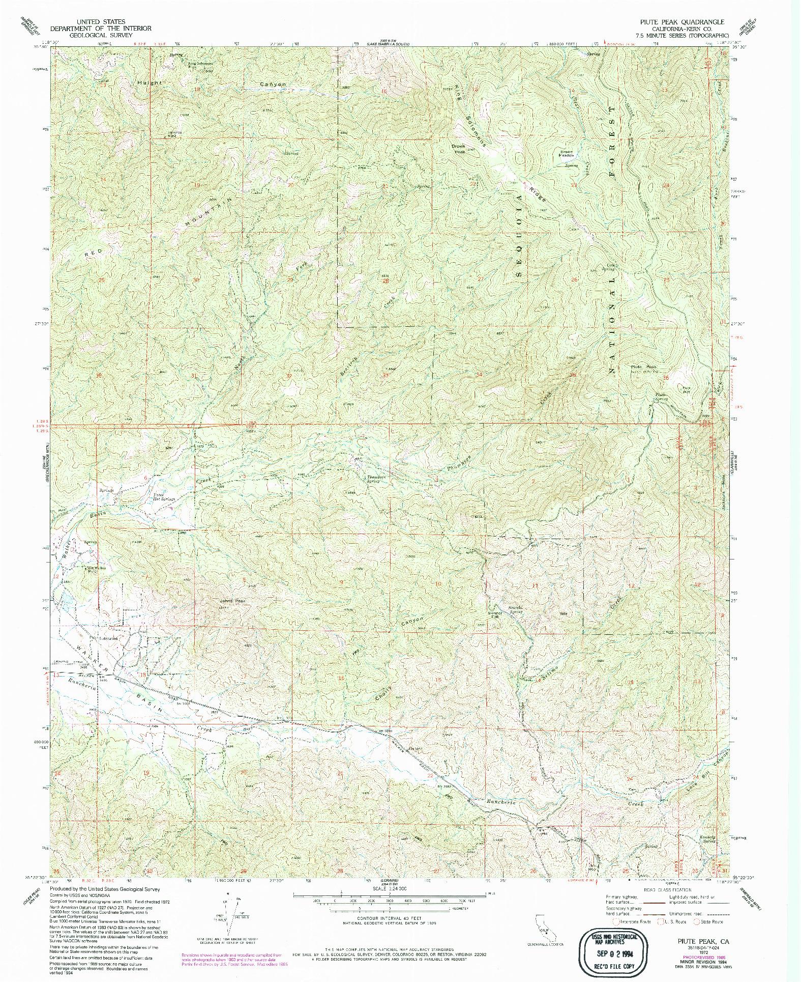 USGS 1:24000-SCALE QUADRANGLE FOR PIUTE PEAK, CA 1972