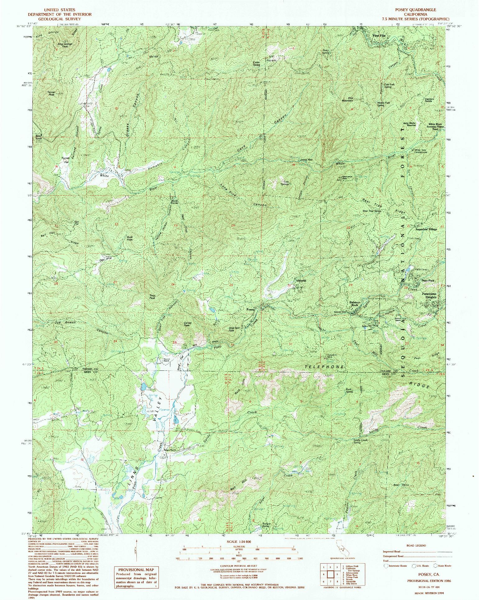 USGS 1:24000-SCALE QUADRANGLE FOR POSEY, CA 1986
