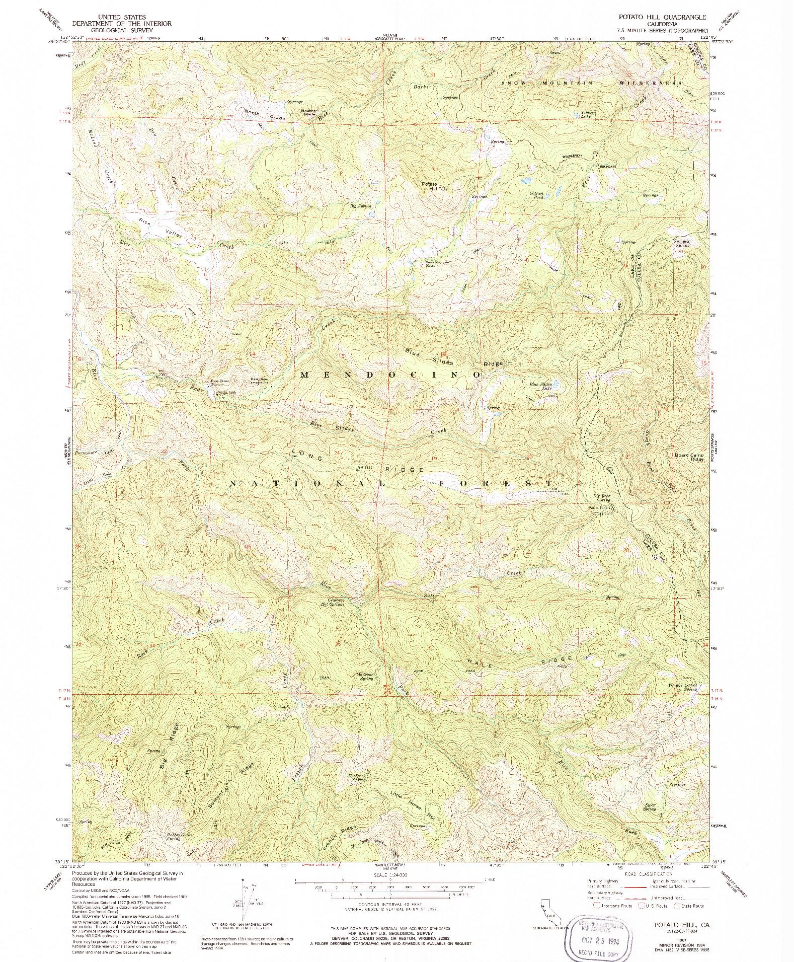 USGS 1:24000-SCALE QUADRANGLE FOR POTATO HILL, CA 1967