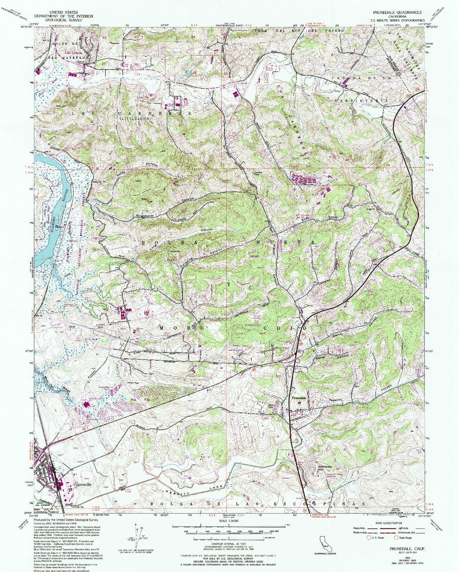 USGS 1:24000-SCALE QUADRANGLE FOR PRUNEDALE, CA 1954