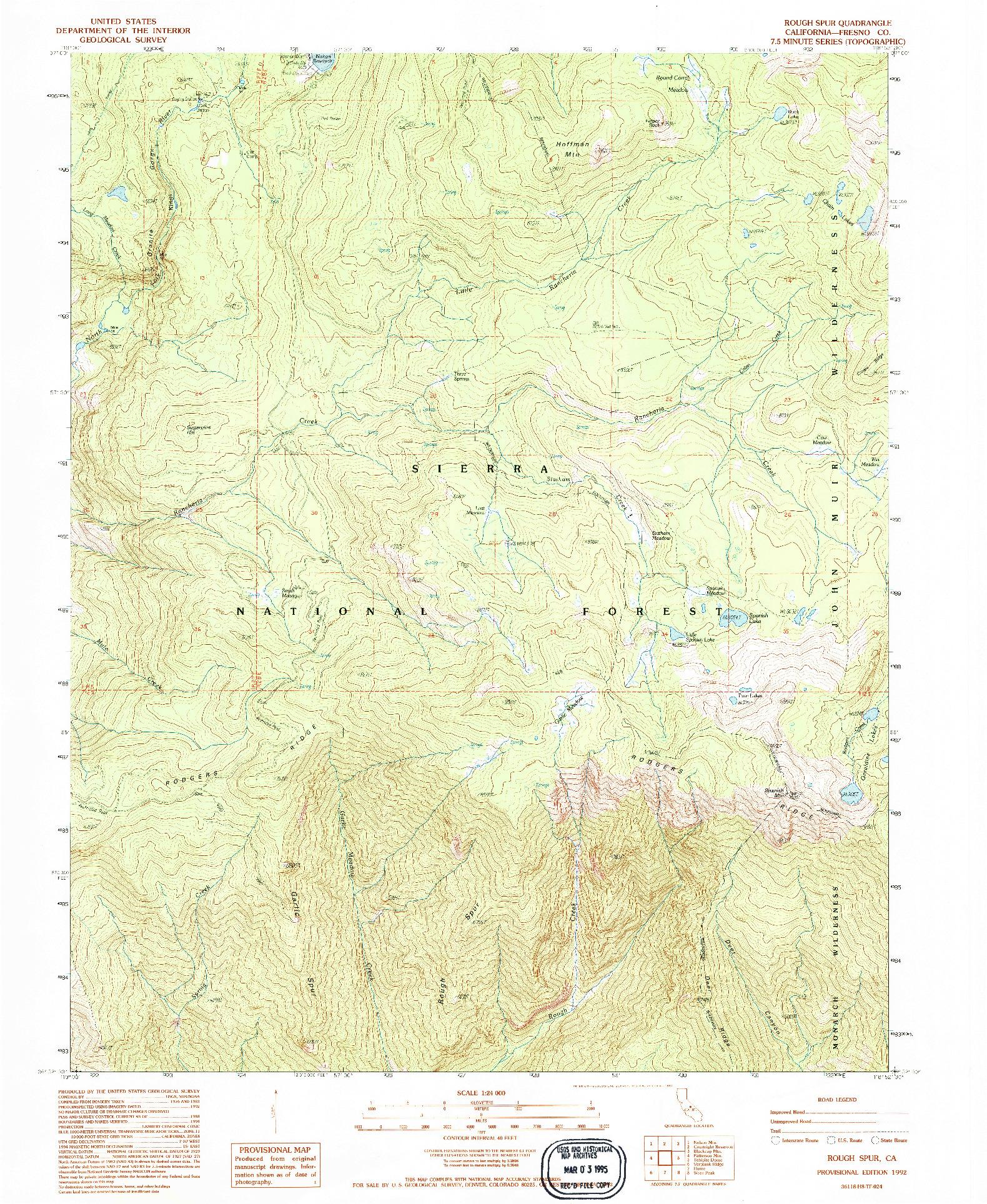 USGS 1:24000-SCALE QUADRANGLE FOR ROUGH SPUR, CA 1992