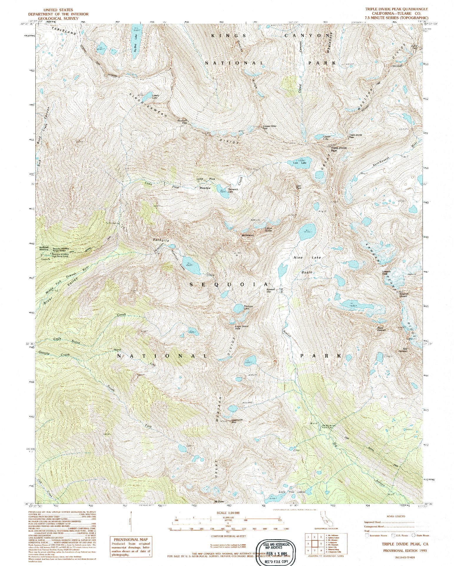 USGS 1:24000-SCALE QUADRANGLE FOR TRIPLE DIVIDE PEAK, CA 1993