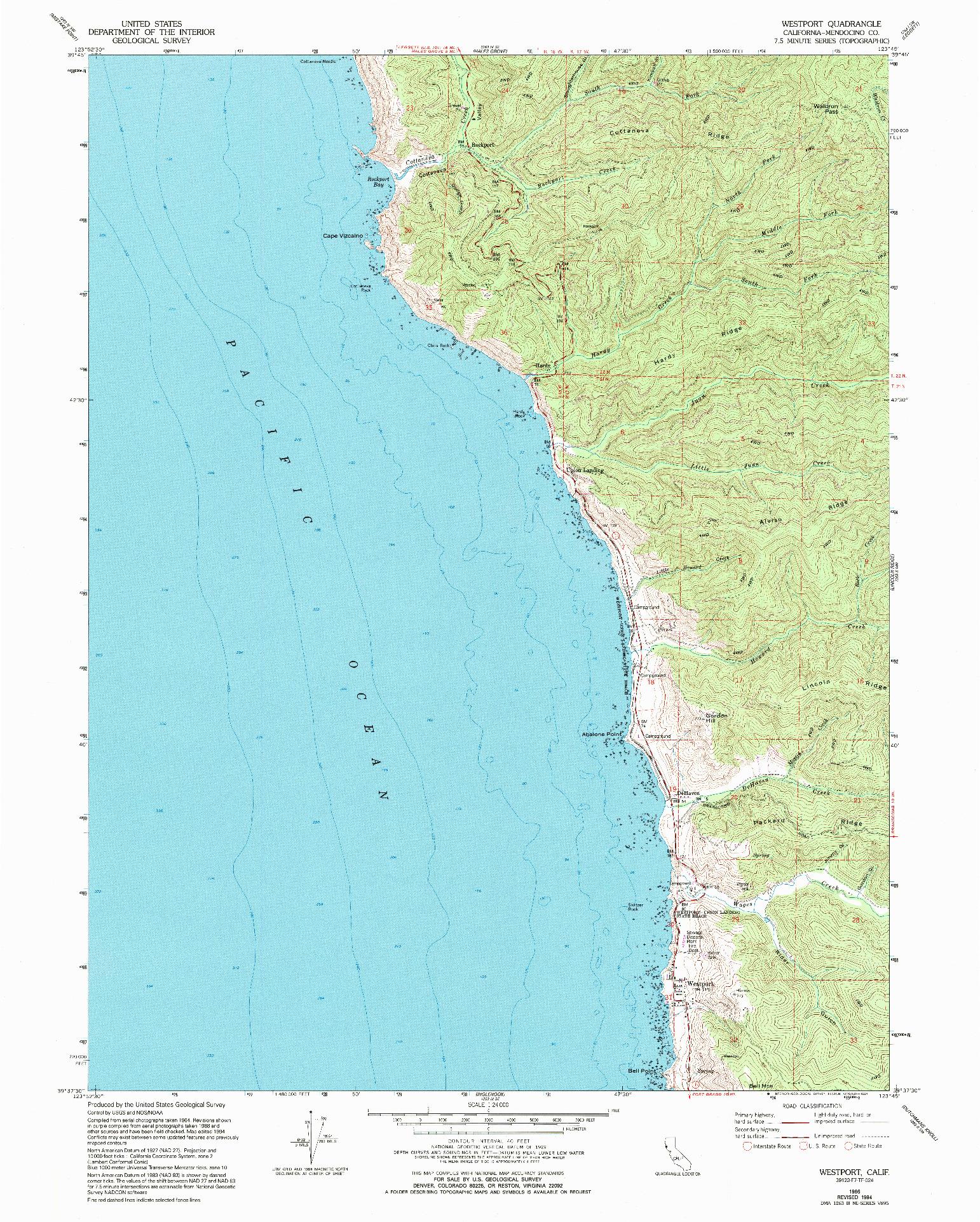 USGS 1:24000-SCALE QUADRANGLE FOR WESTPORT, CA 1966