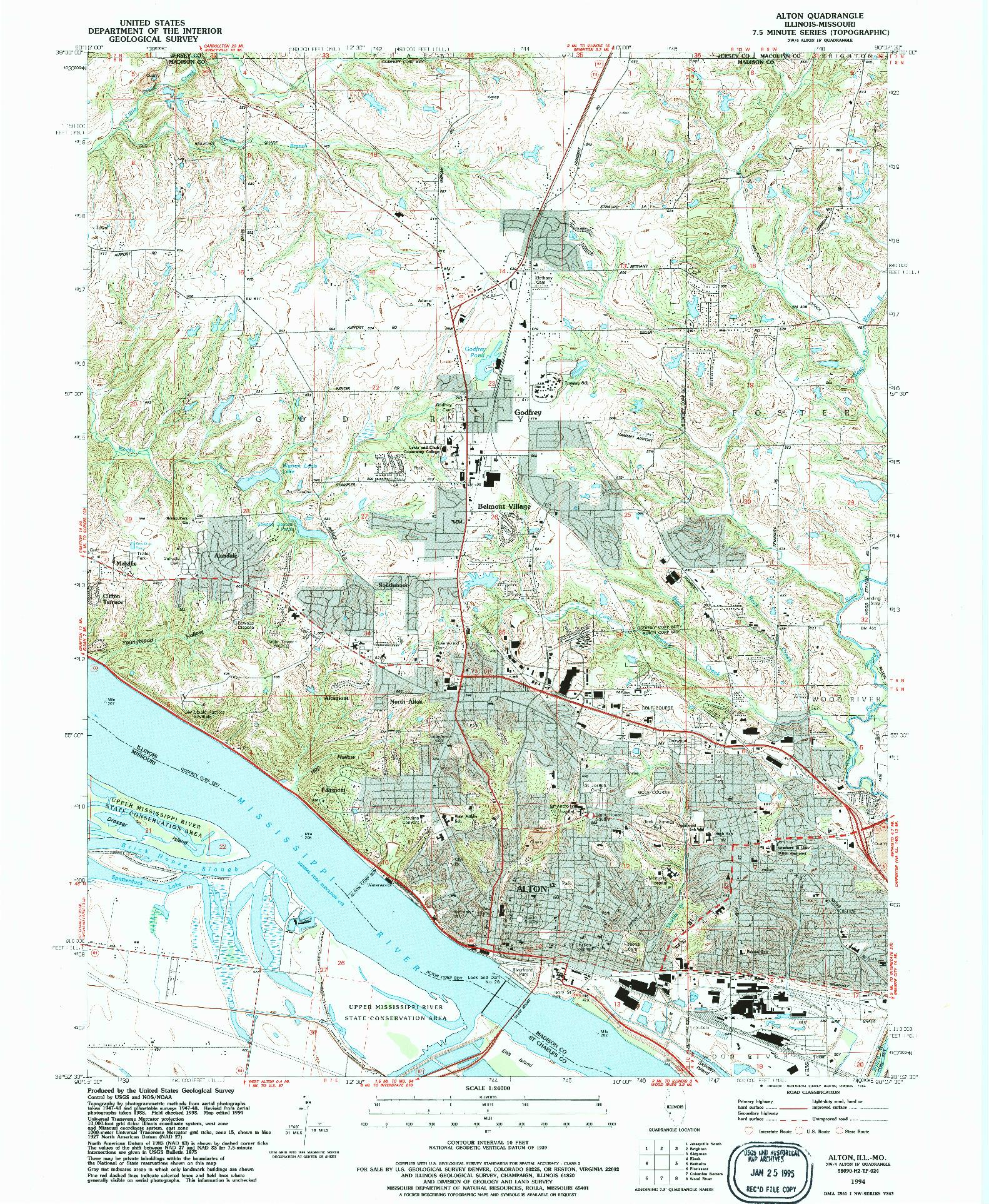 USGS 1:24000-SCALE QUADRANGLE FOR ALTON, IL 1994