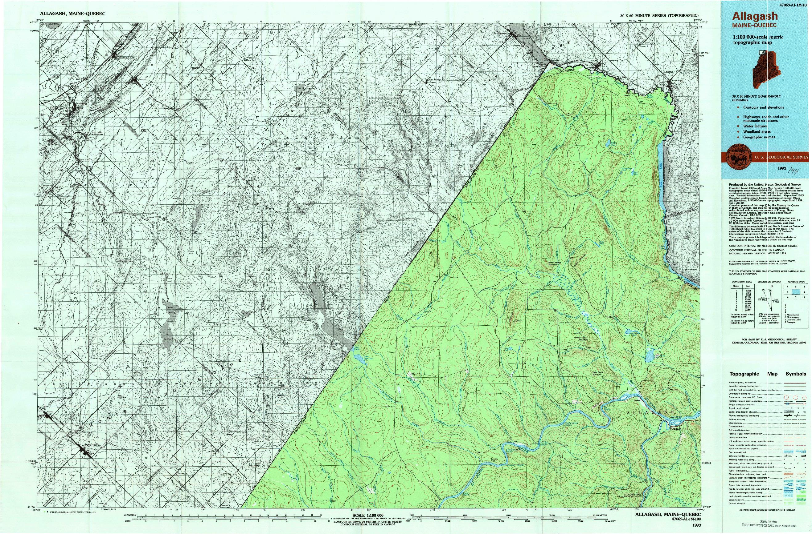 USGS 1:100000-SCALE QUADRANGLE FOR ALLAGASH, ME 1993