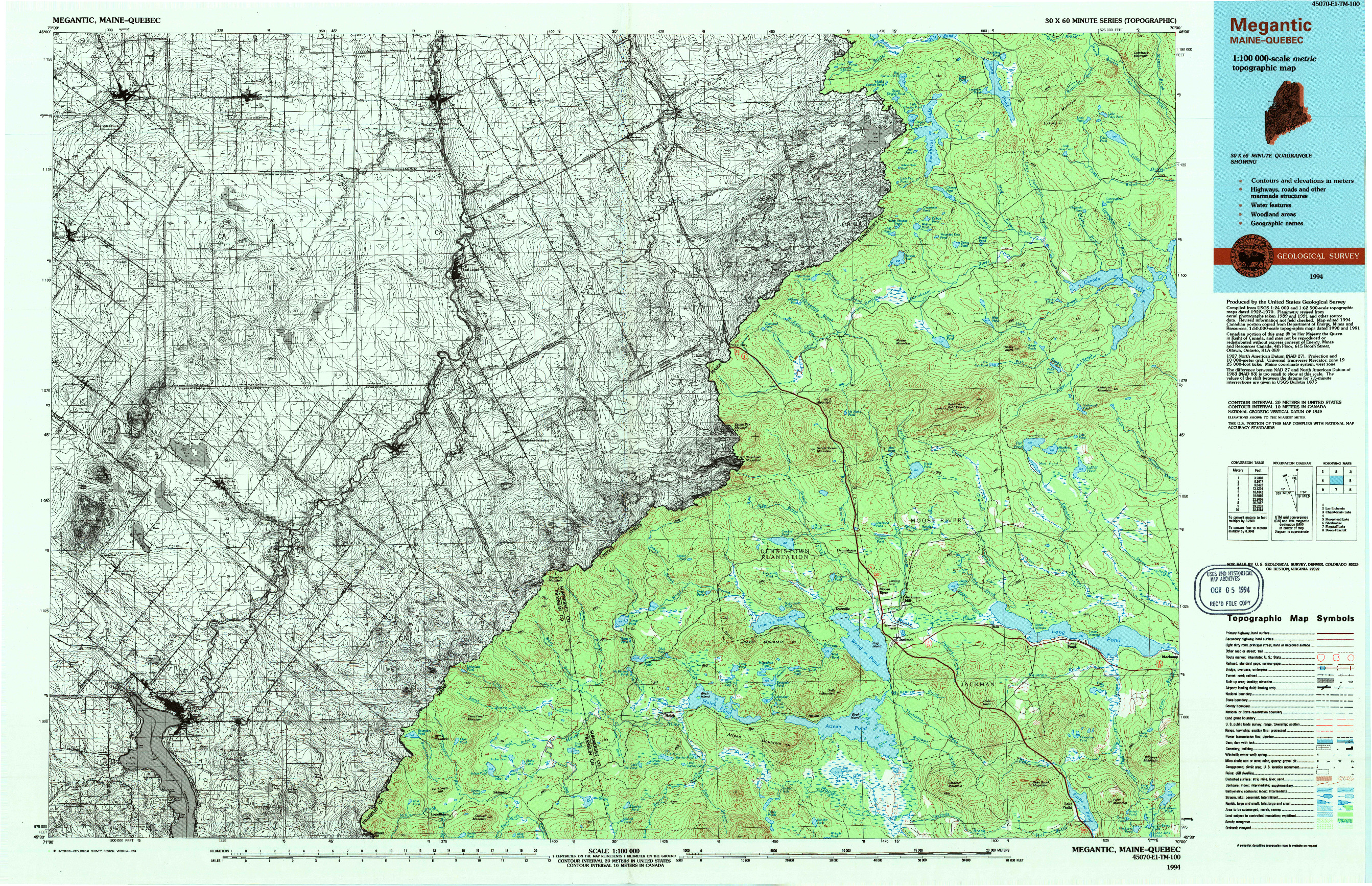 USGS 1:100000-SCALE QUADRANGLE FOR MEGANTIC, ME 1994