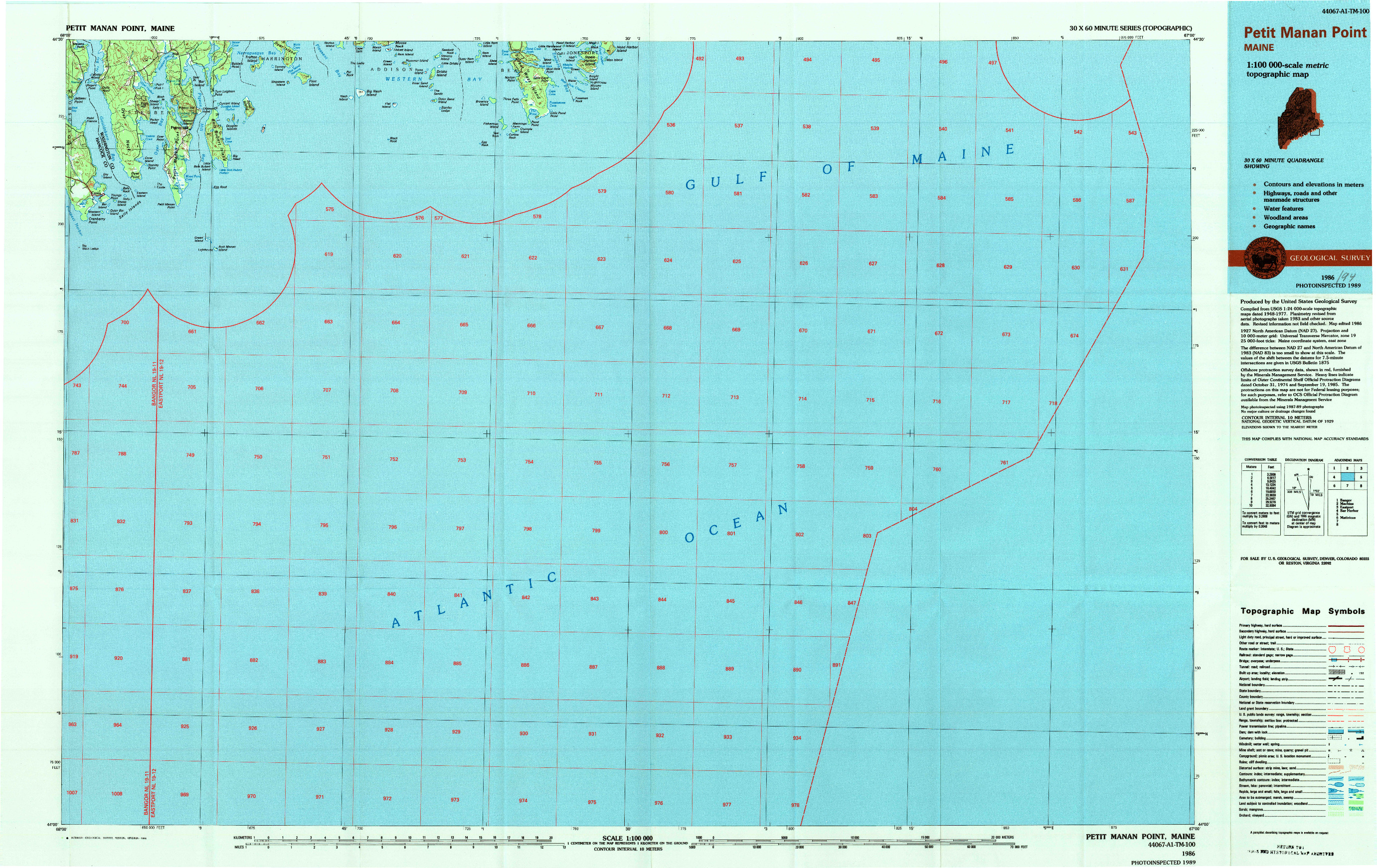 USGS 1:100000-SCALE QUADRANGLE FOR PETIT MANAN POINT, ME 1986