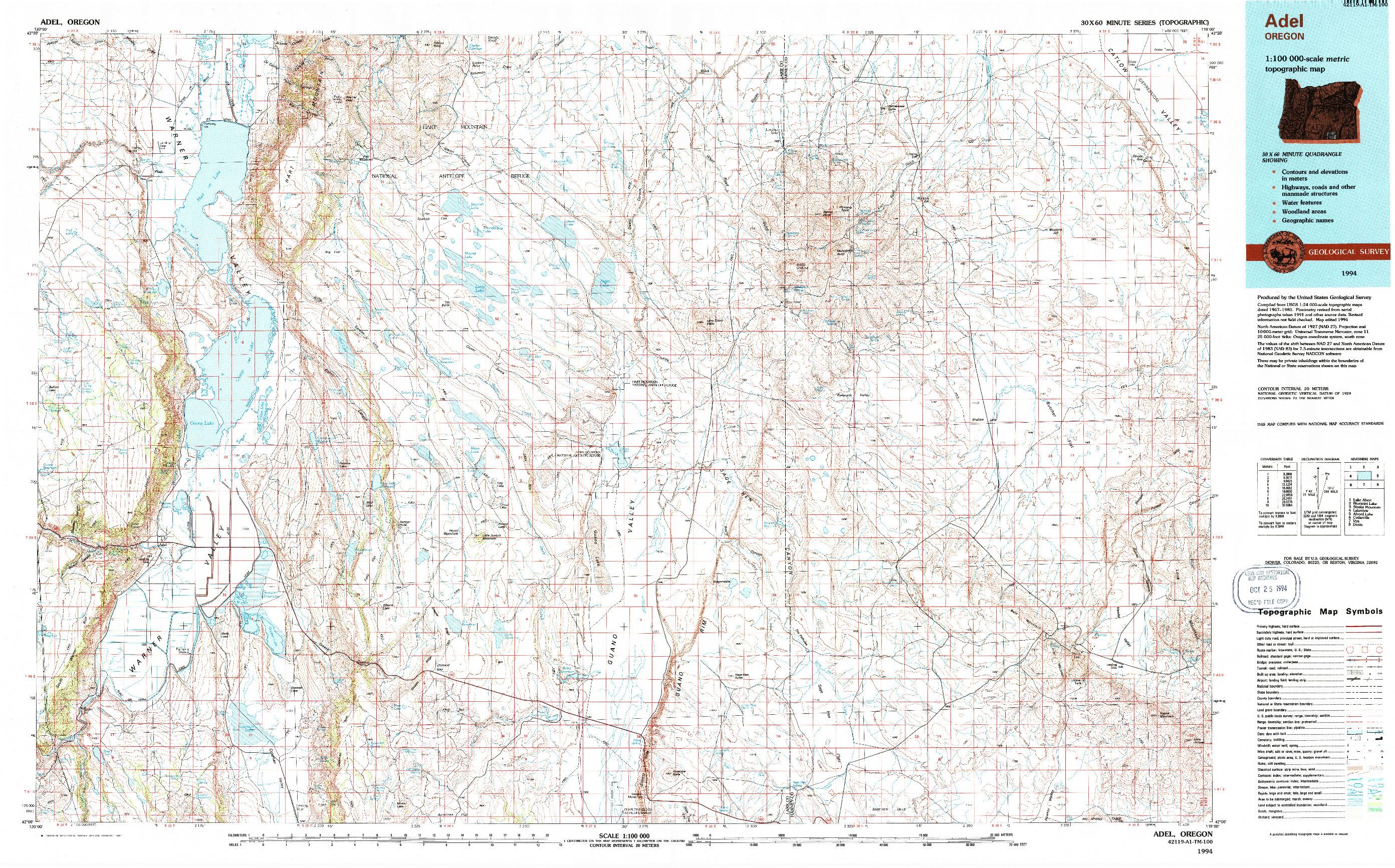 USGS 1:100000-SCALE QUADRANGLE FOR ADEL, OR 1994