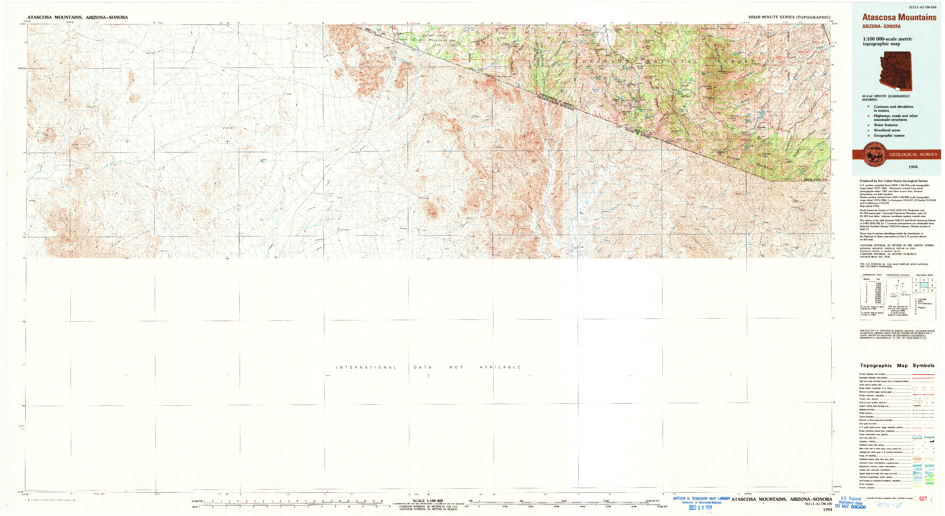 USGS 1:100000-SCALE QUADRANGLE FOR ATASCOSA MOUNTAINS, AZ 1994