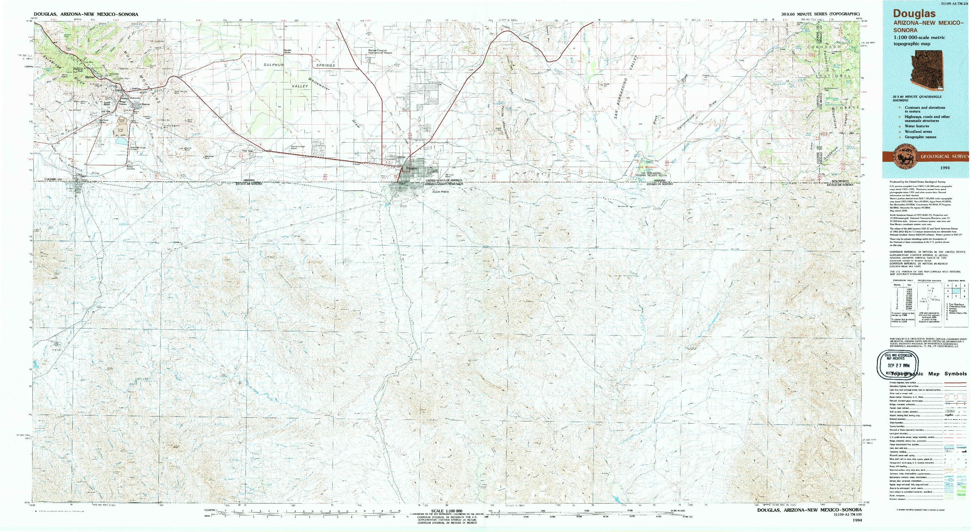 USGS 1:100000-SCALE QUADRANGLE FOR DOUGLAS, AZ 1994