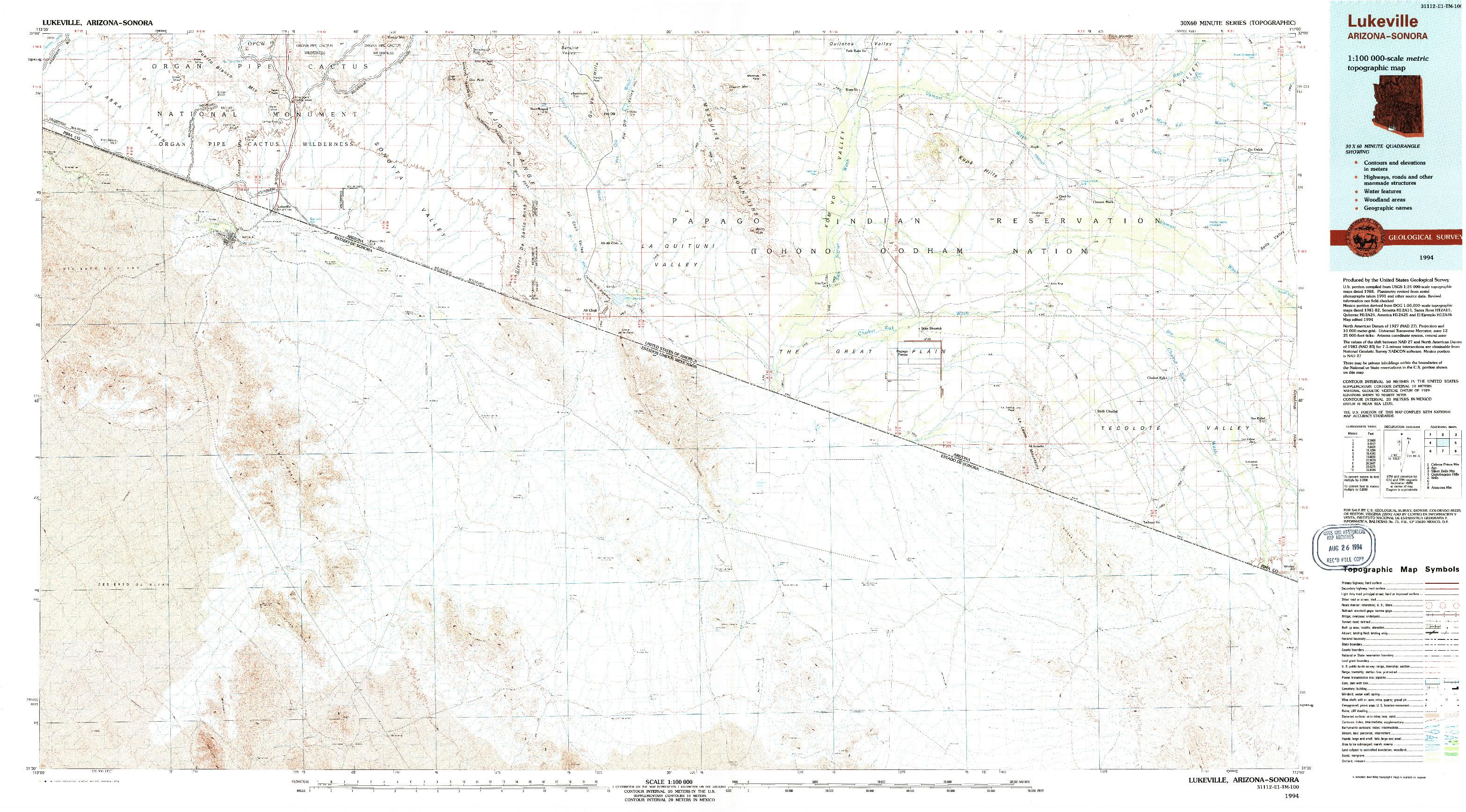 USGS 1:100000-SCALE QUADRANGLE FOR LUKEVILLE, AZ 1994