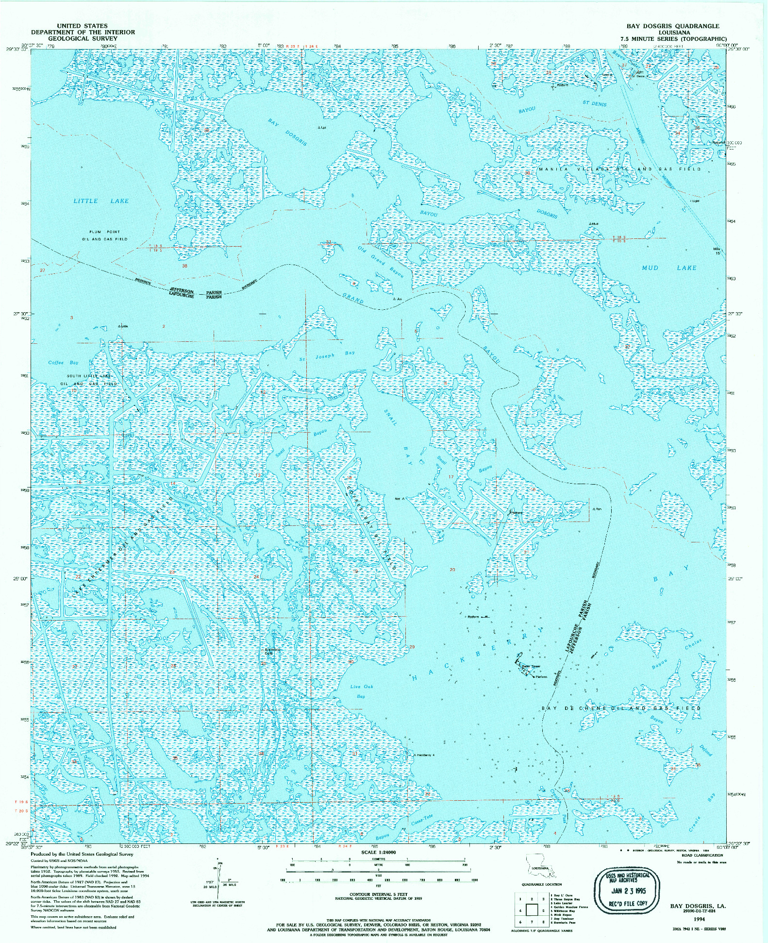 USGS 1:24000-SCALE QUADRANGLE FOR BAY DOSGRIS, LA 1994