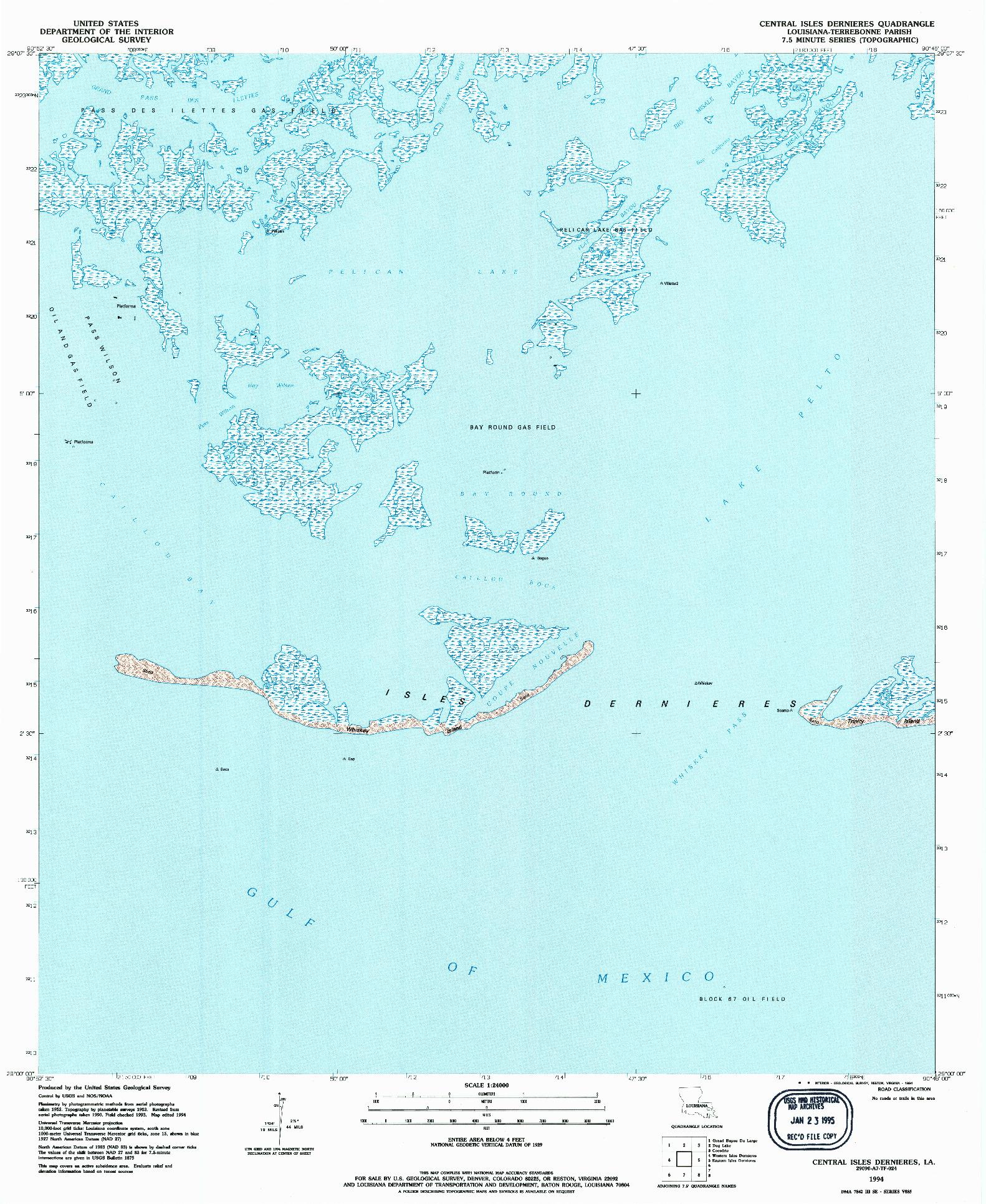 USGS 1:24000-SCALE QUADRANGLE FOR CENTRAL ISLES DERNIERES, LA 1994