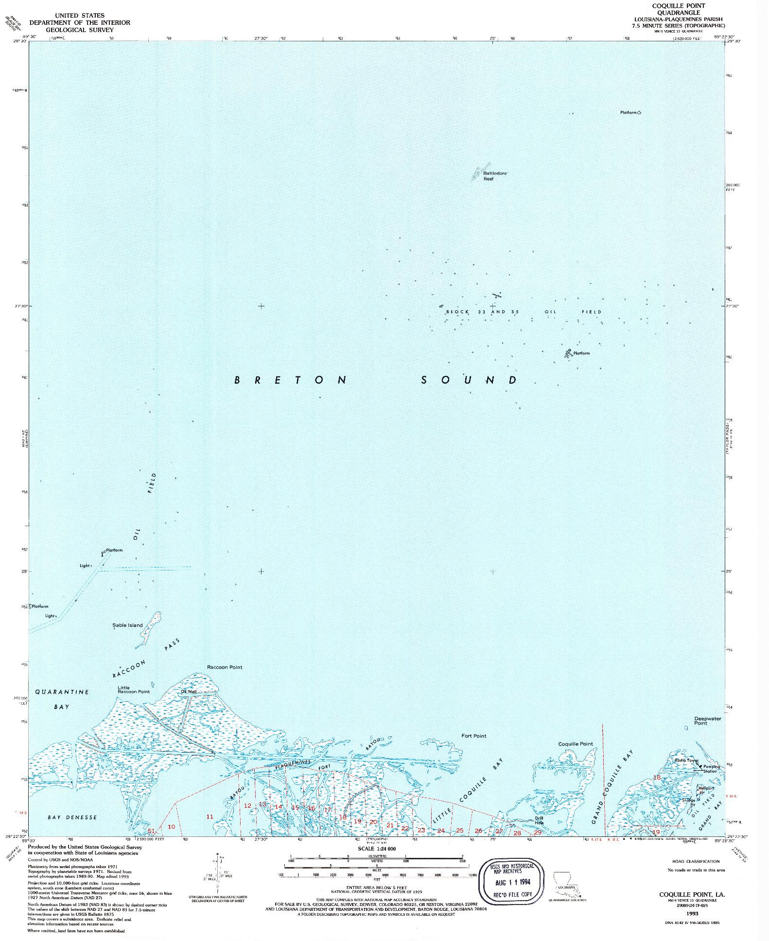 USGS 1:24000-SCALE QUADRANGLE FOR COQUILLE POINT, LA 1993