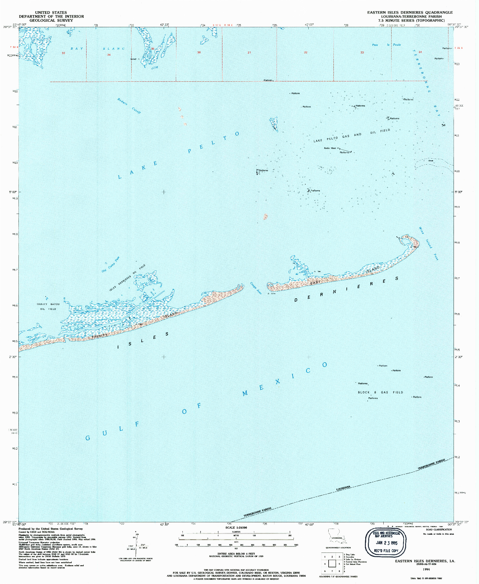 USGS 1:24000-SCALE QUADRANGLE FOR EASTERN ISLES DERNIERES, LA 1994