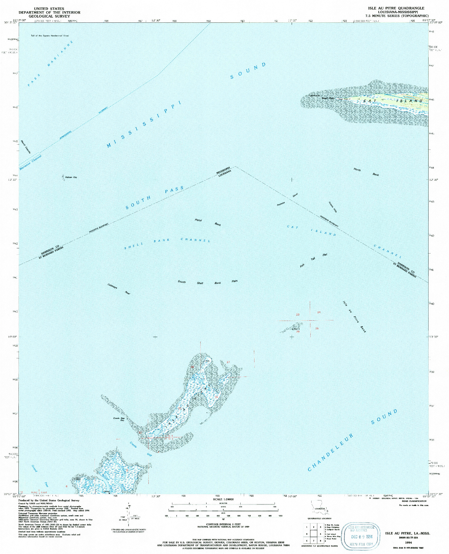 USGS 1:24000-SCALE QUADRANGLE FOR ISLE AU PITRE, LA 1994
