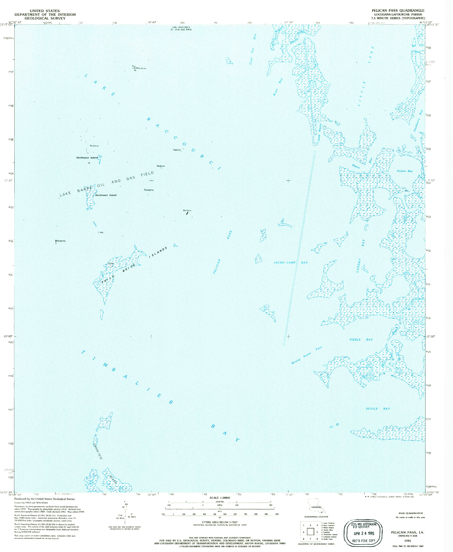 USGS 1:24000-SCALE QUADRANGLE FOR PELICAN PASS, LA 1994