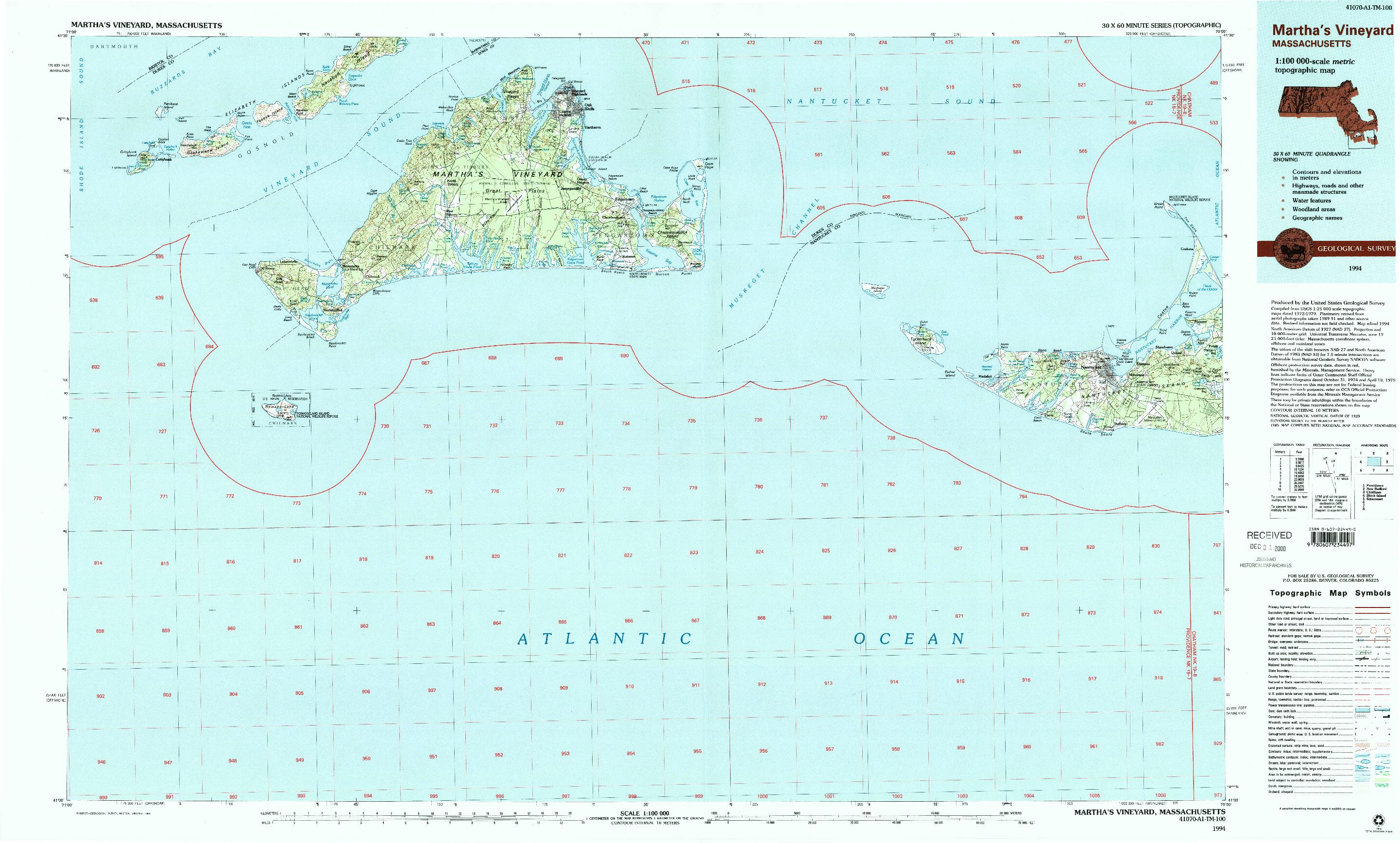 USGS 1:100000-SCALE QUADRANGLE FOR MARTHA'S VINEYARD, MA 1994