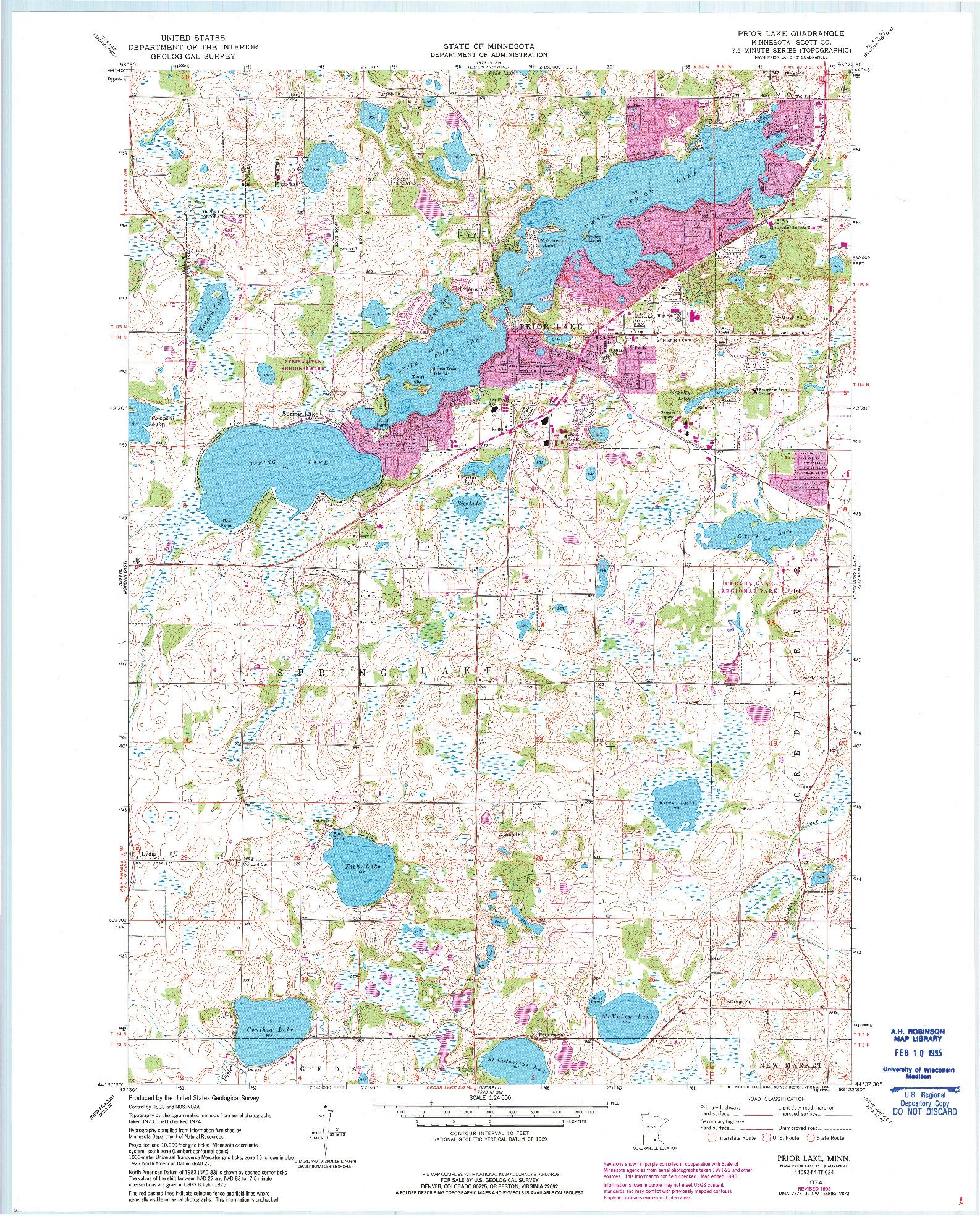USGS 1:24000-SCALE QUADRANGLE FOR PRIOR LAKE, MN 1974