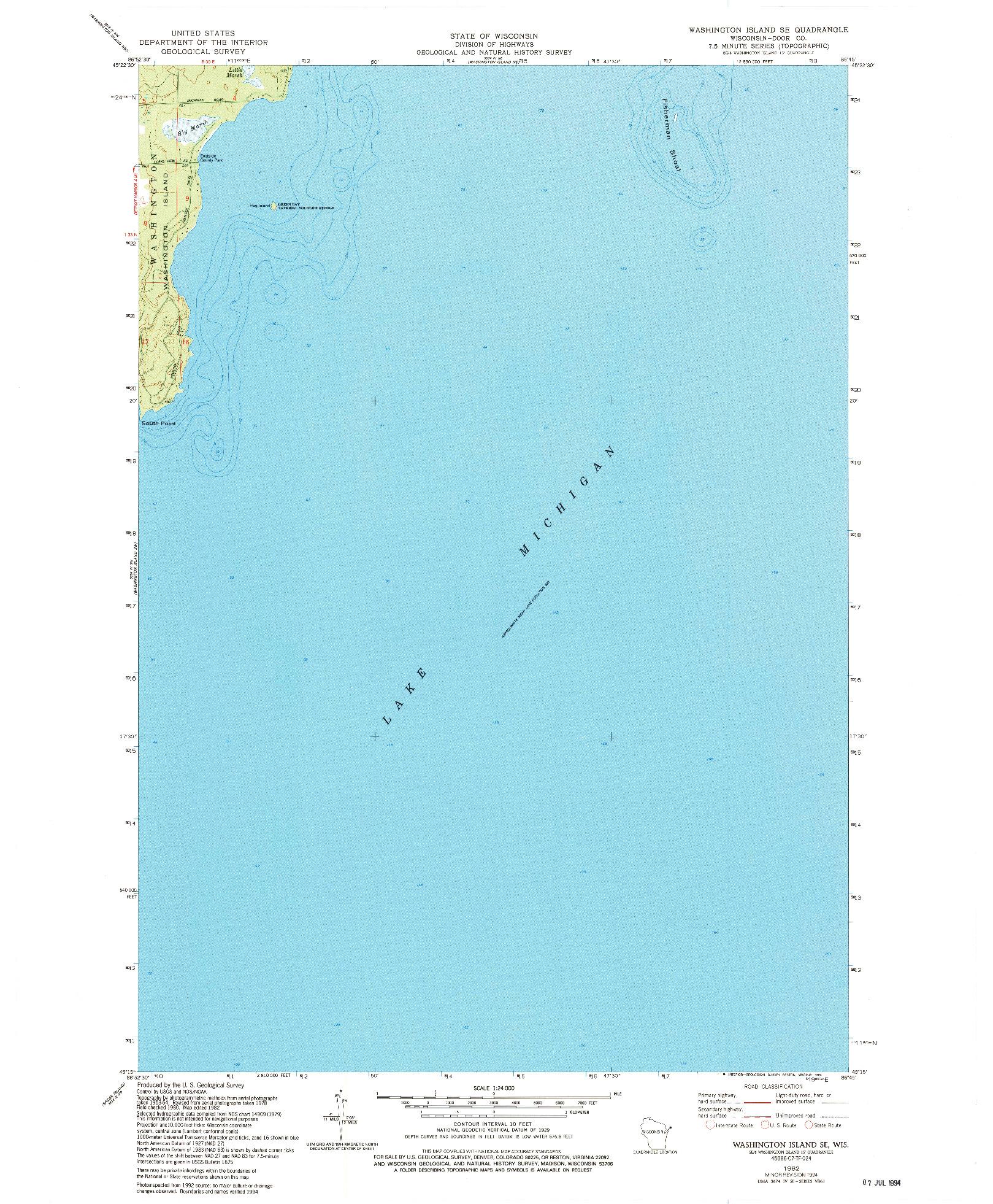 USGS 1:24000-SCALE QUADRANGLE FOR WASHINGTON ISLAND SE, WI 1982