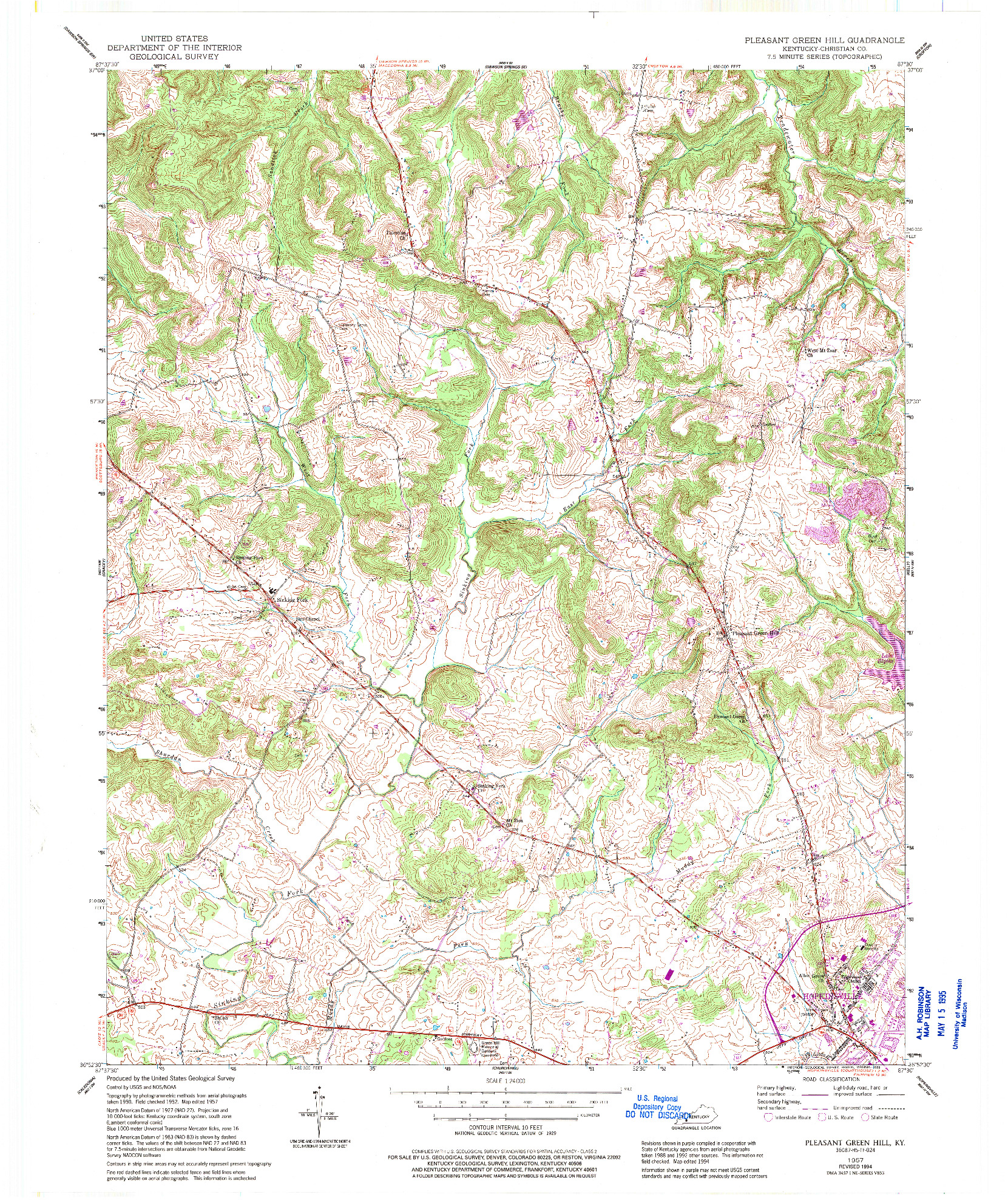 USGS 1:24000-SCALE QUADRANGLE FOR PLEASANT GREEN HILL, KY 1957
