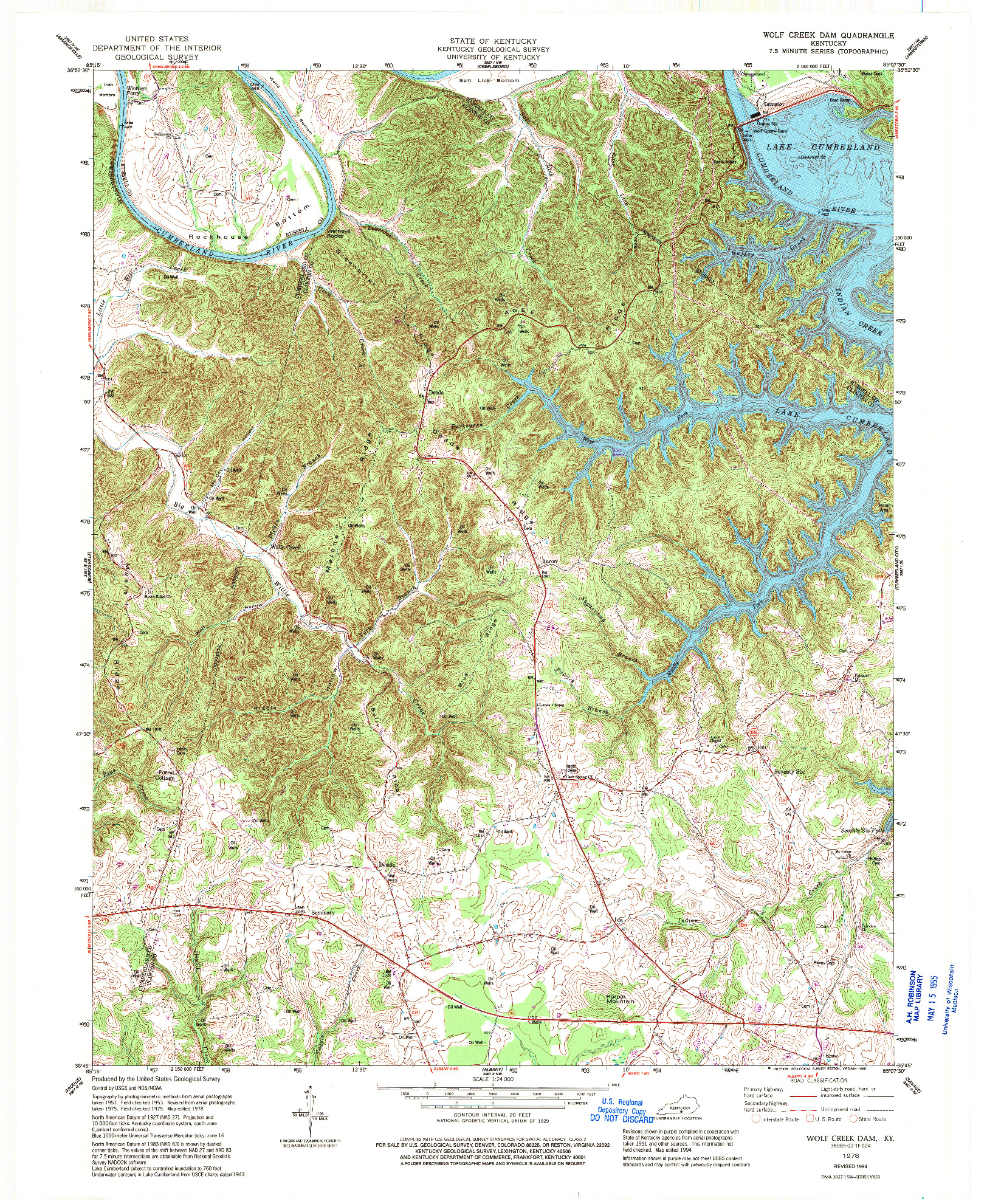 USGS 1:24000-SCALE QUADRANGLE FOR WOLF CREEK DAM, KY 1978