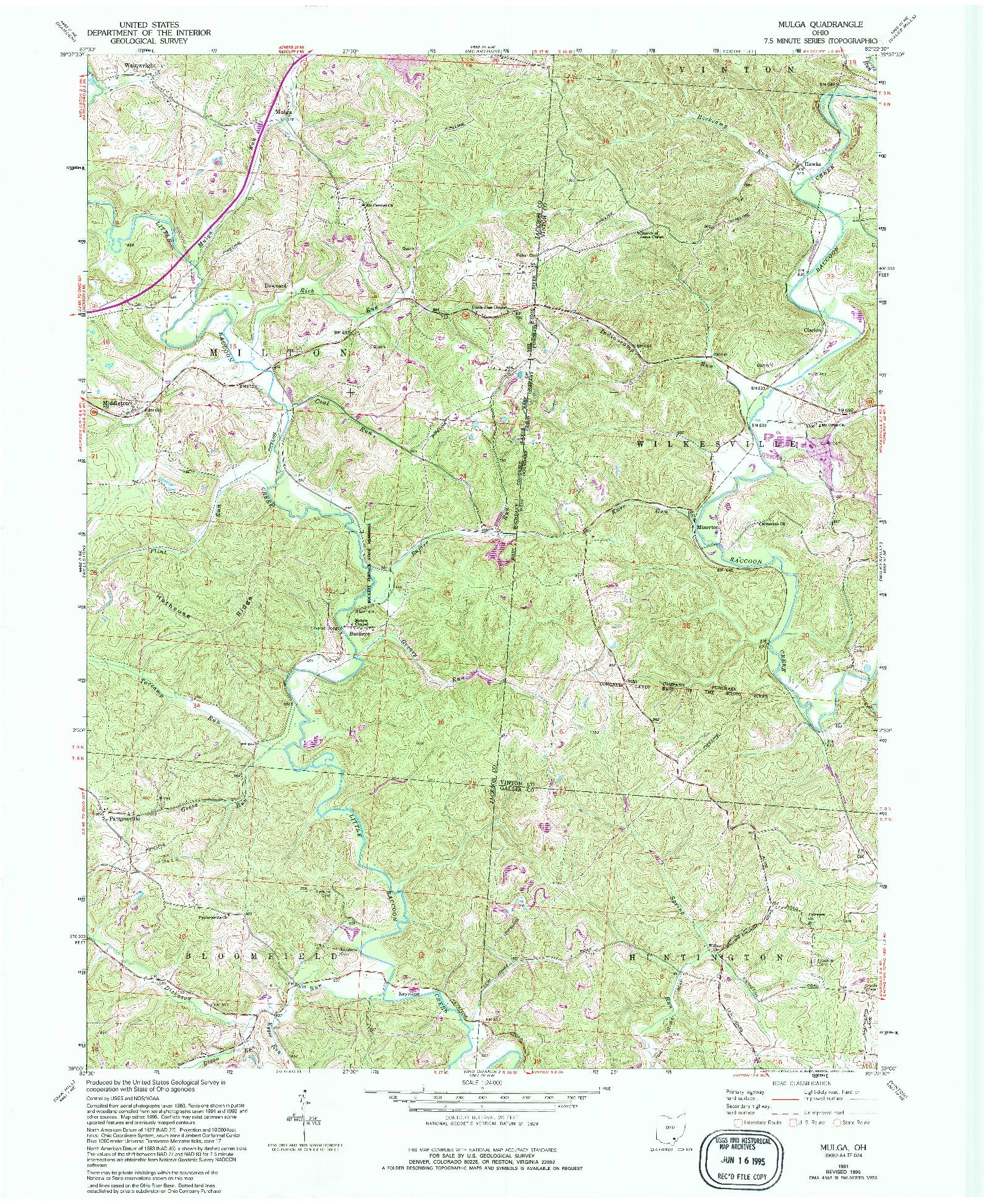 USGS 1:24000-SCALE QUADRANGLE FOR MULGA, OH 1961