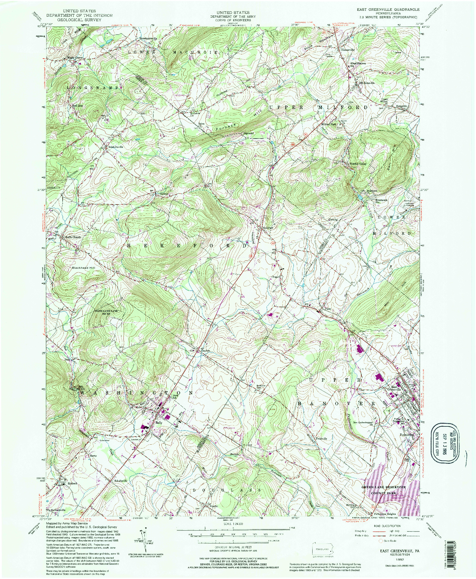 USGS 1:24000-SCALE QUADRANGLE FOR EAST GREENVILLE, PA 1992