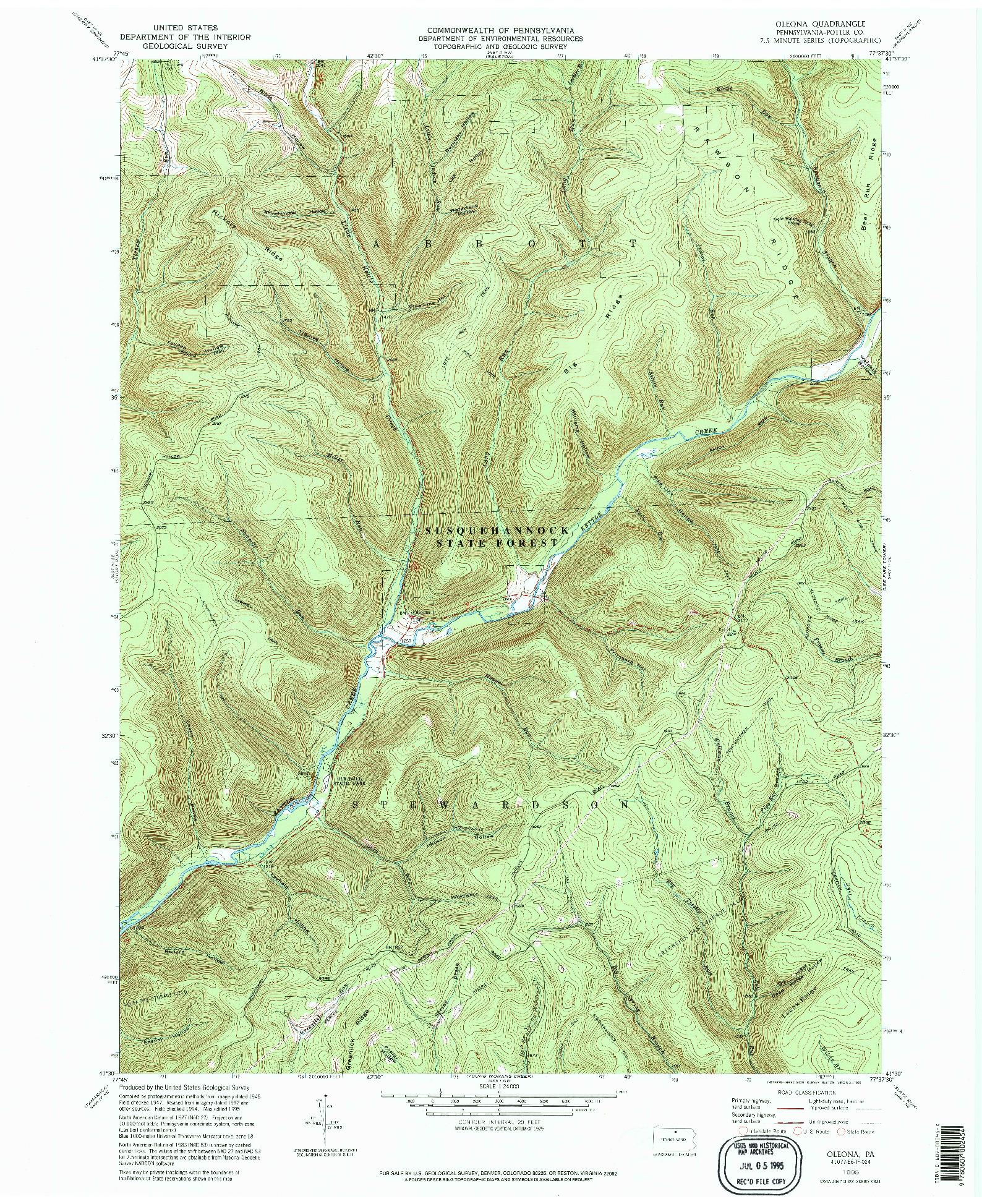 USGS 1:24000-SCALE QUADRANGLE FOR OLEONA, PA 1995