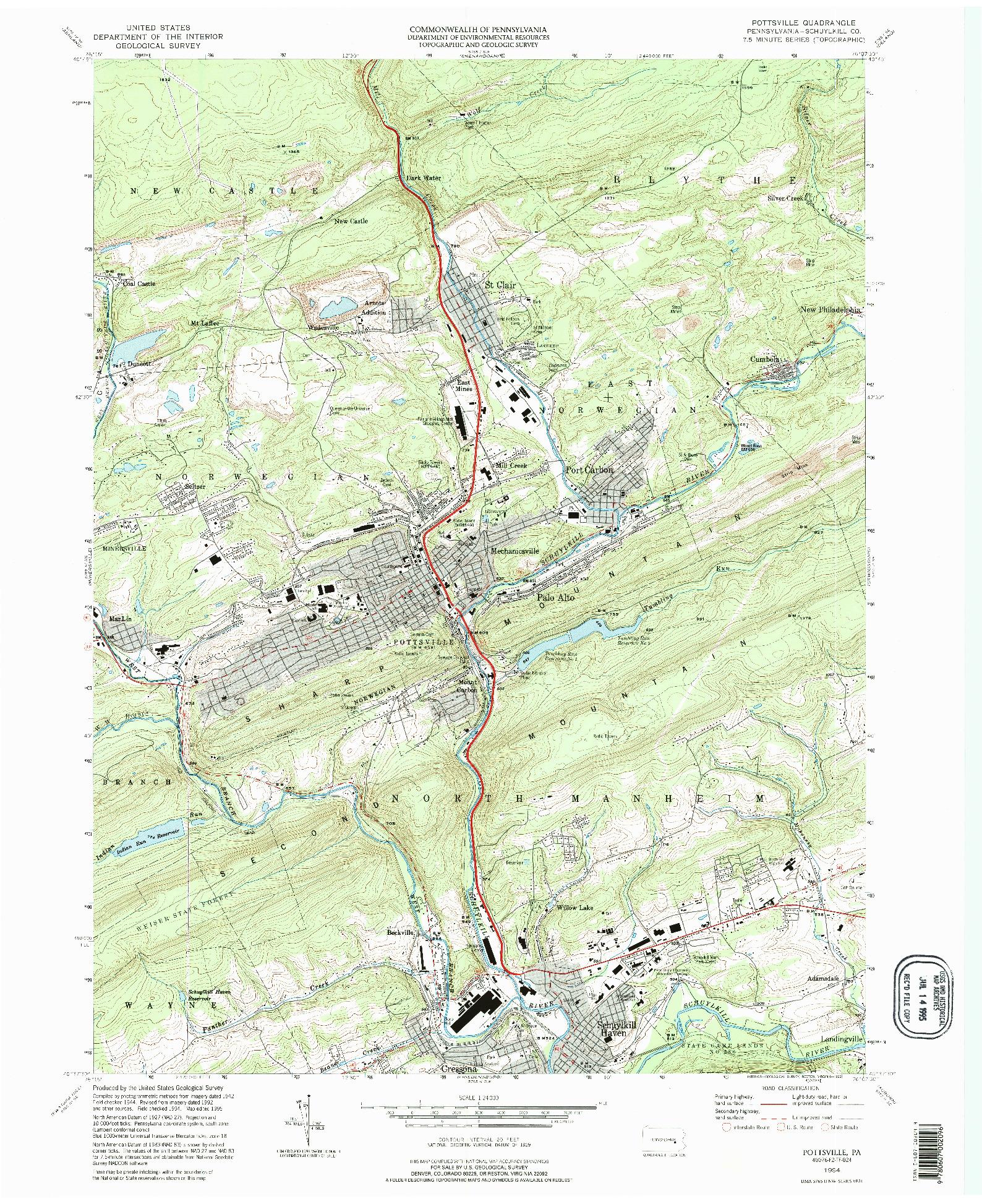 USGS 1:24000-SCALE QUADRANGLE FOR POTTSVILLE, PA 1994
