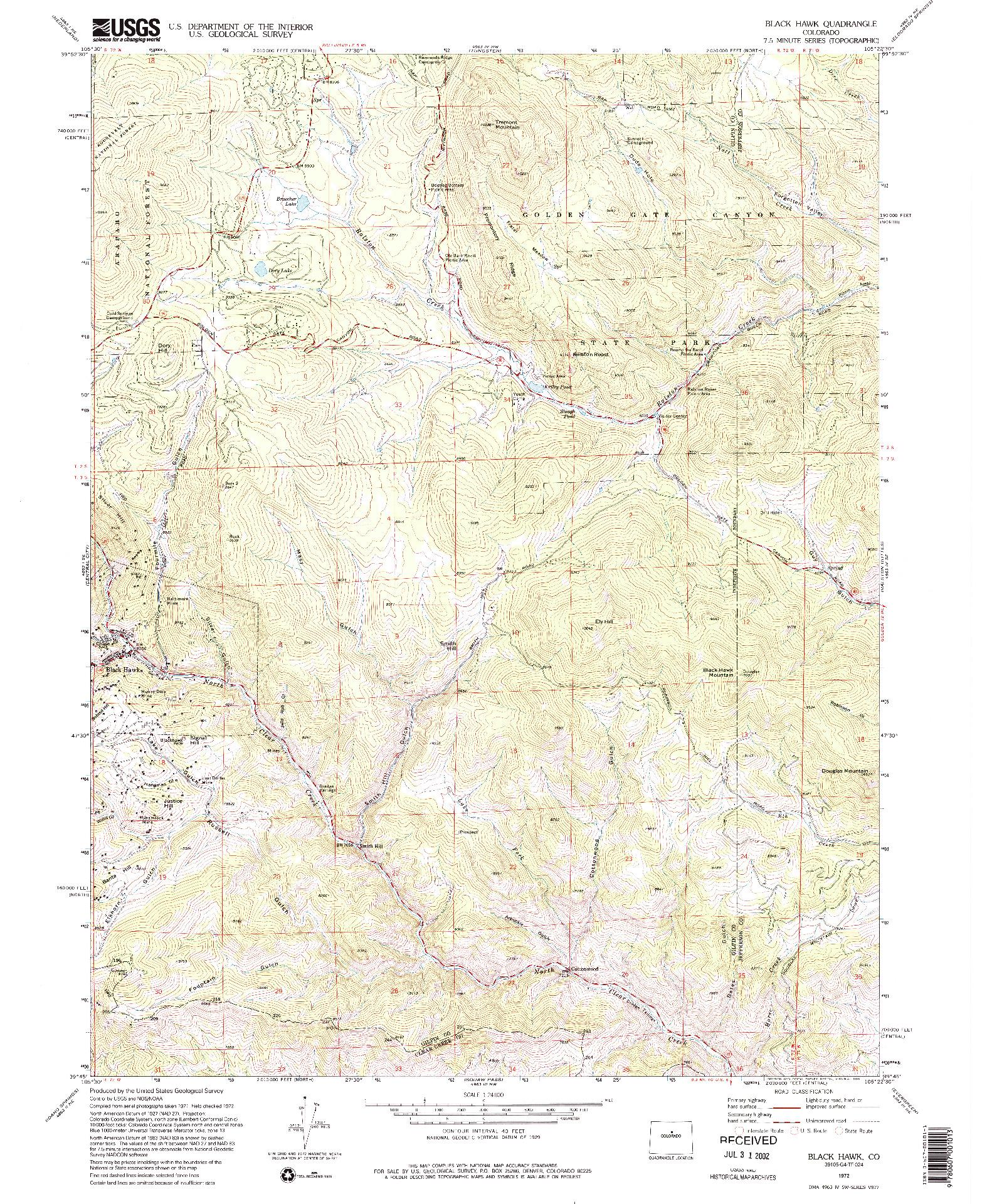 USGS 1:24000-SCALE QUADRANGLE FOR BLACK HAWK, CO 1972