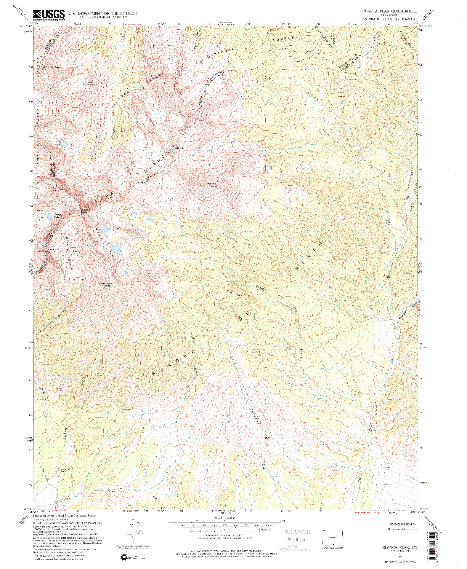 USGS 1:24000-SCALE QUADRANGLE FOR BLANCA PEAK, CO 1967