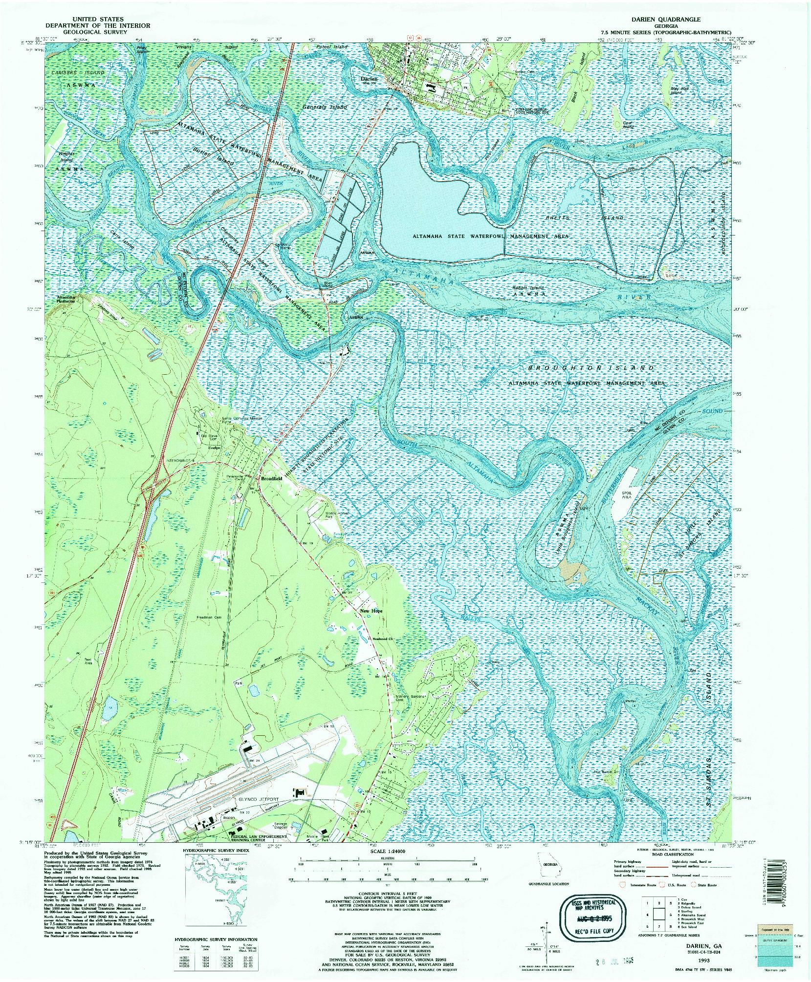 USGS 1:24000-SCALE QUADRANGLE FOR DARIEN, GA 1993