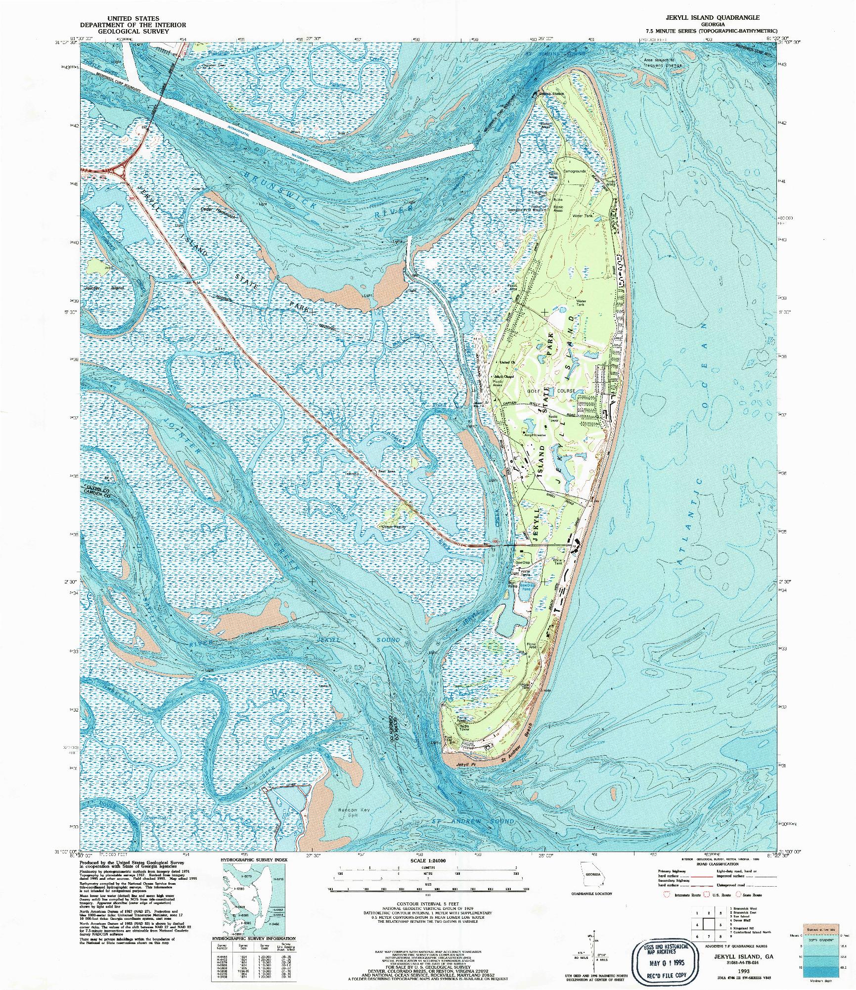 USGS 1:24000-SCALE QUADRANGLE FOR JEKYLL ISLAND, GA 1993
